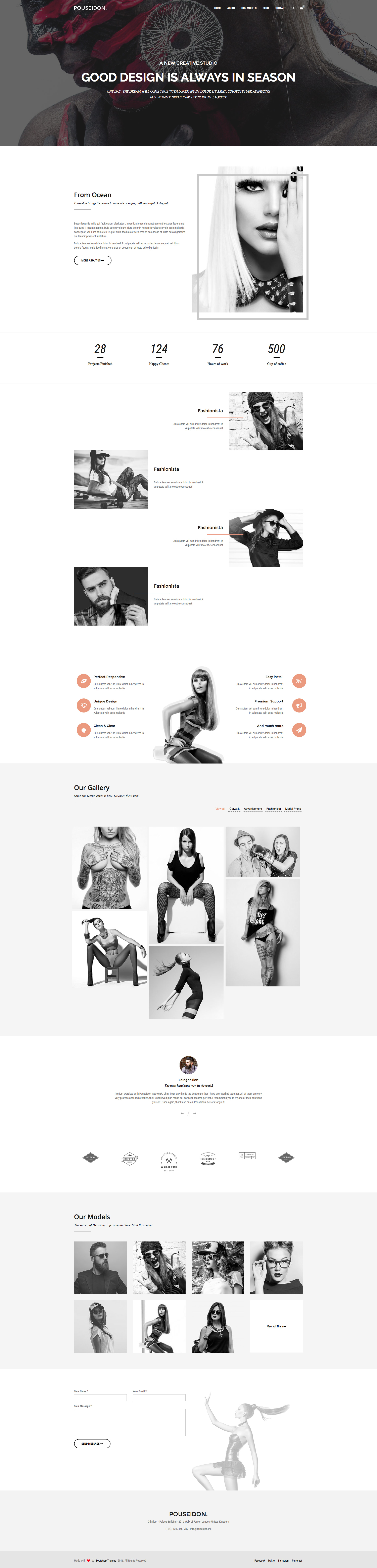 POUSEIDON is a free minimalist responsive HTML5 Bootstrap multi-purpose website template. It features Valid HTML5 / CSS3, Fully responsive design, Touch-Friendly images, Masonry grid, Jquery and CSS3 Animations and many more. POUSEIDON comes with multiple   pages. All of them fully responsive and a retina-ready.