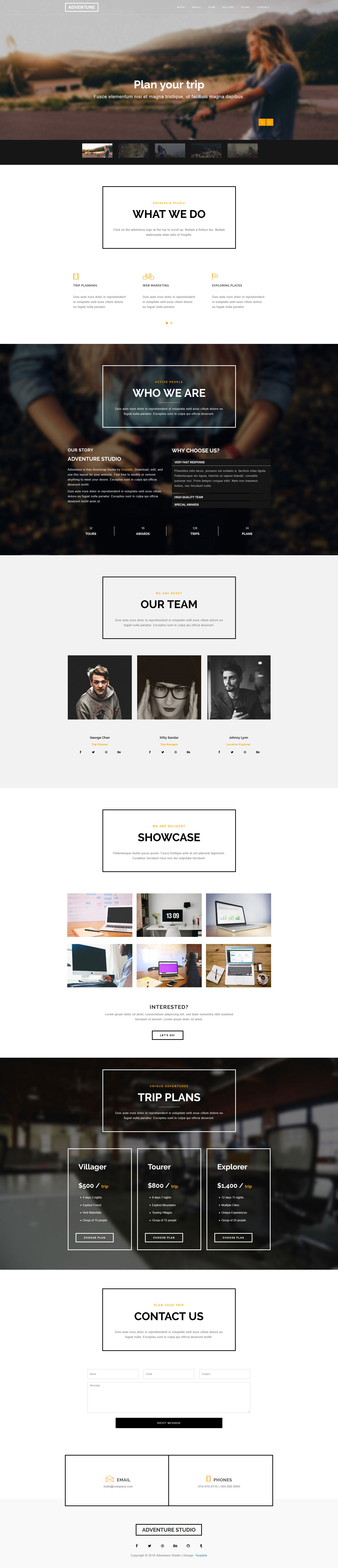 Adventure Free Responsive Html5 Bootstrap Template Htmltemplates