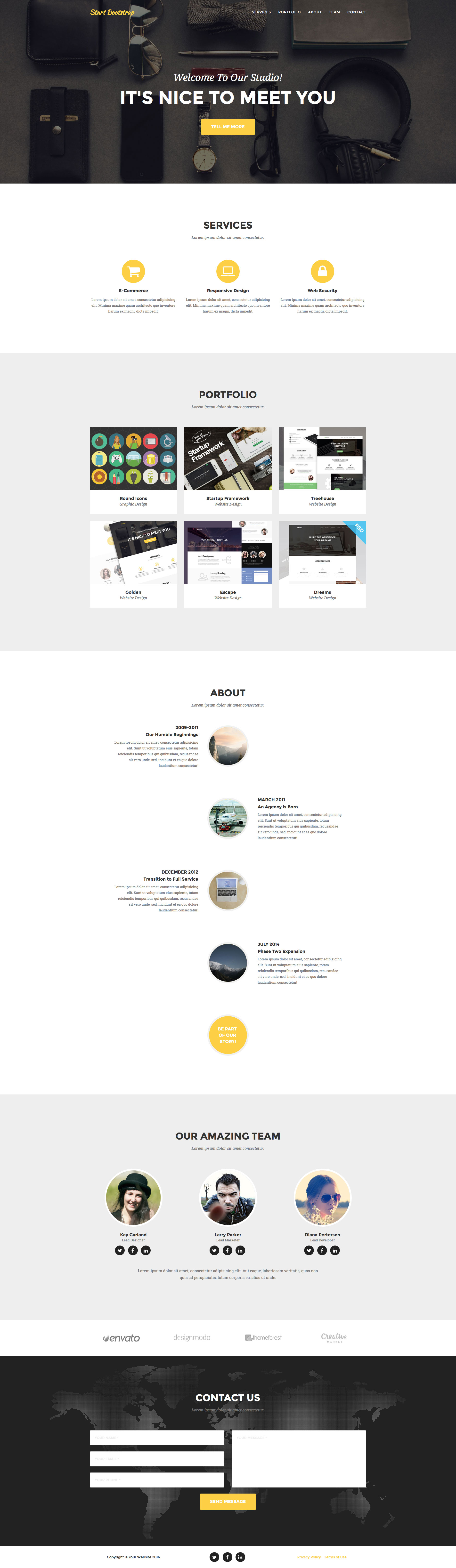 Agency is a clean, free one page Bootstrap template for agencies and small businesses. It features LESS files, custom collapsing navigation, portfolio grid, working PHP contact and many more.