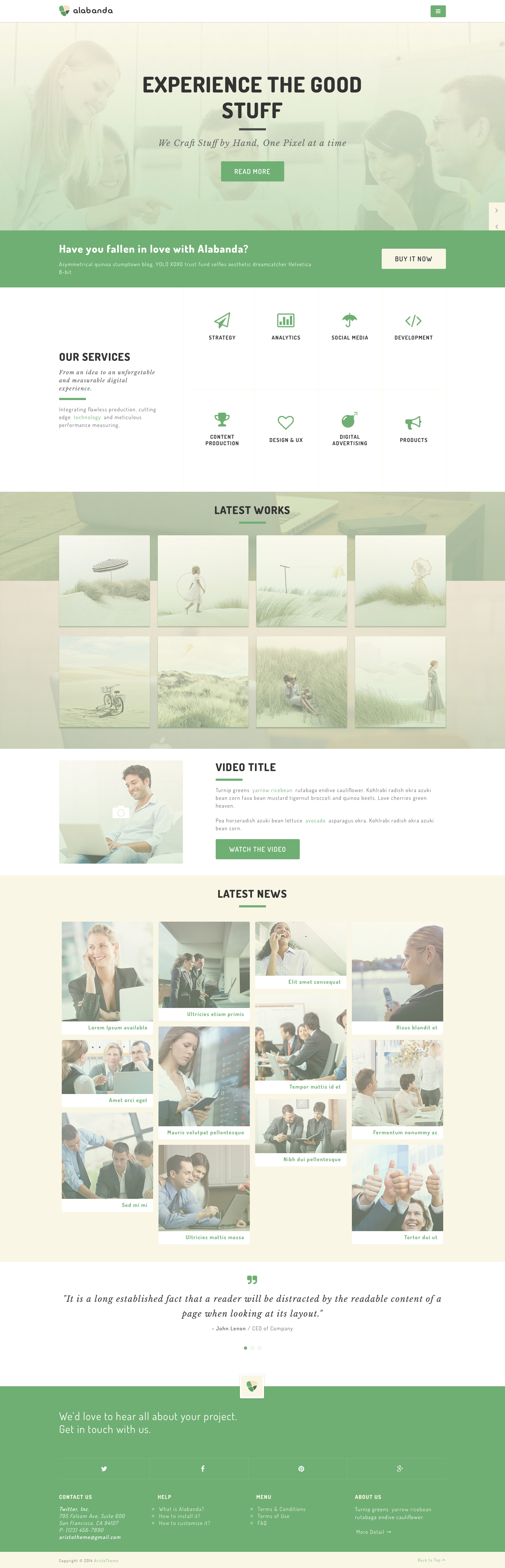 Alabanda is a clean free responsive HTML5 multipurpose website template. It can be ideal for professionals, freelancers or creative studios. This template is fully responsive, retina ready and comes with 5 pages.