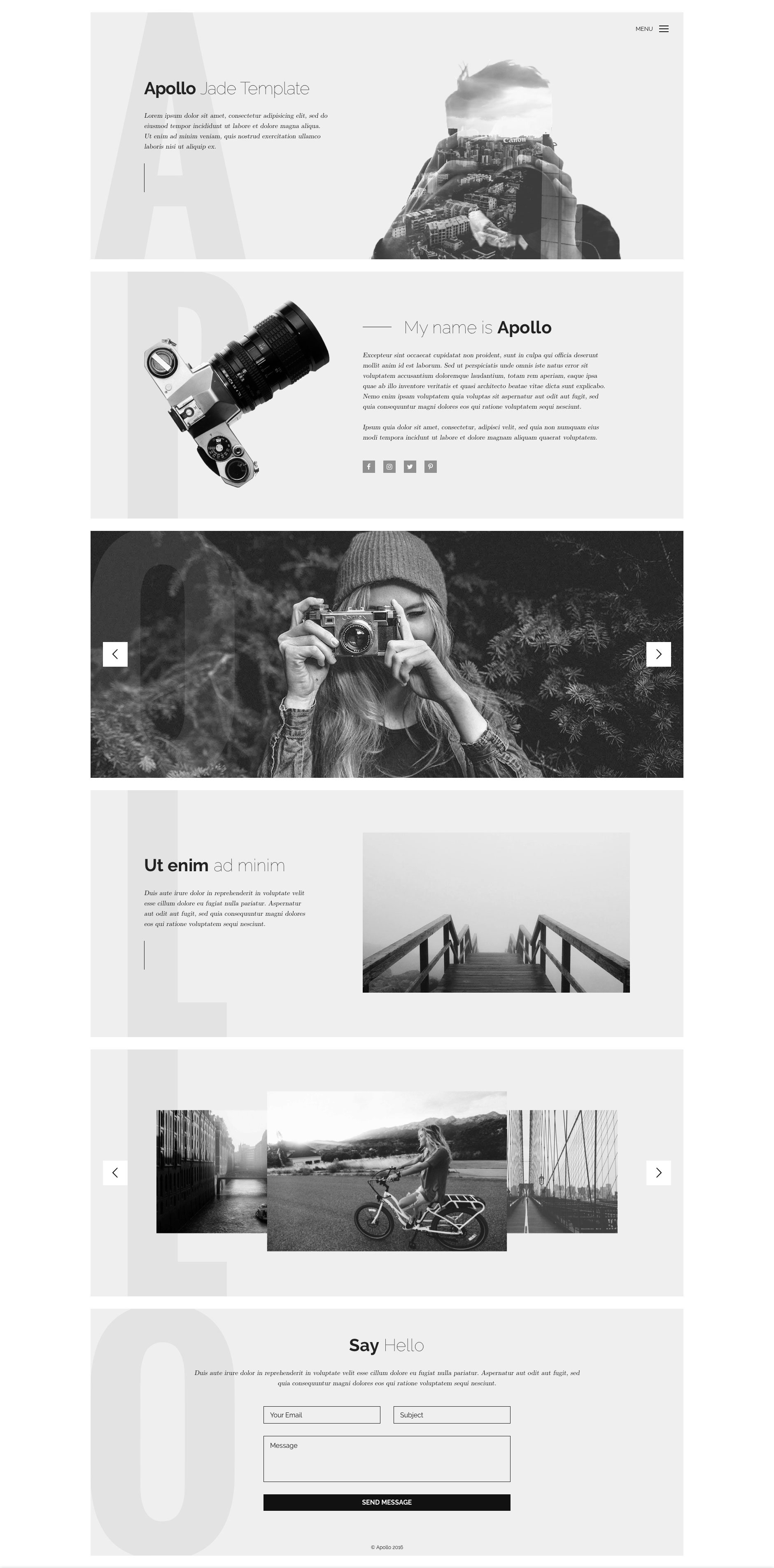 Apollo is a minimal, responsive HTML5 website template, which is the perfect choice for photographers and other creatives. Apollo grid framework is independent, and fully responsive.