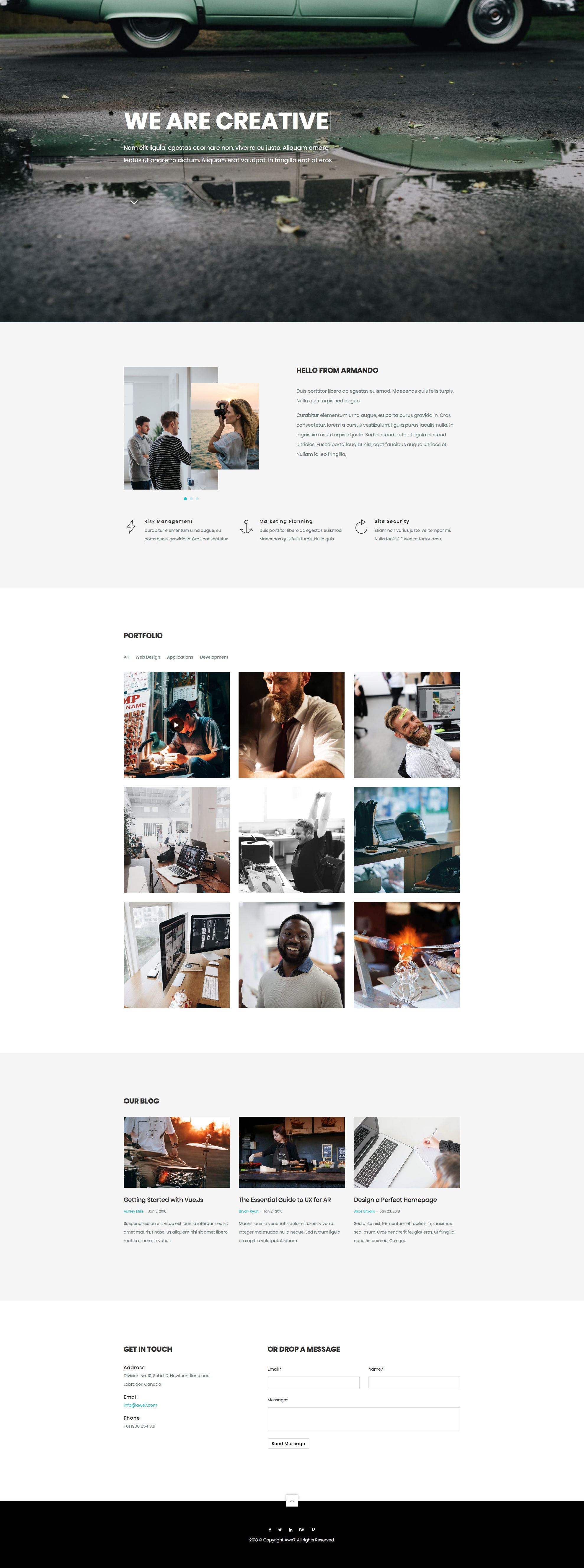 Armando is a modern and minimal free responsive HTML5 one page HTML5 Bootstrap website template. The perfect HTML5 template to showcase your work products and services. Armando free HTML template is fully responsive, retina ready and comes with the popular Bootstrap CSS Grid System.