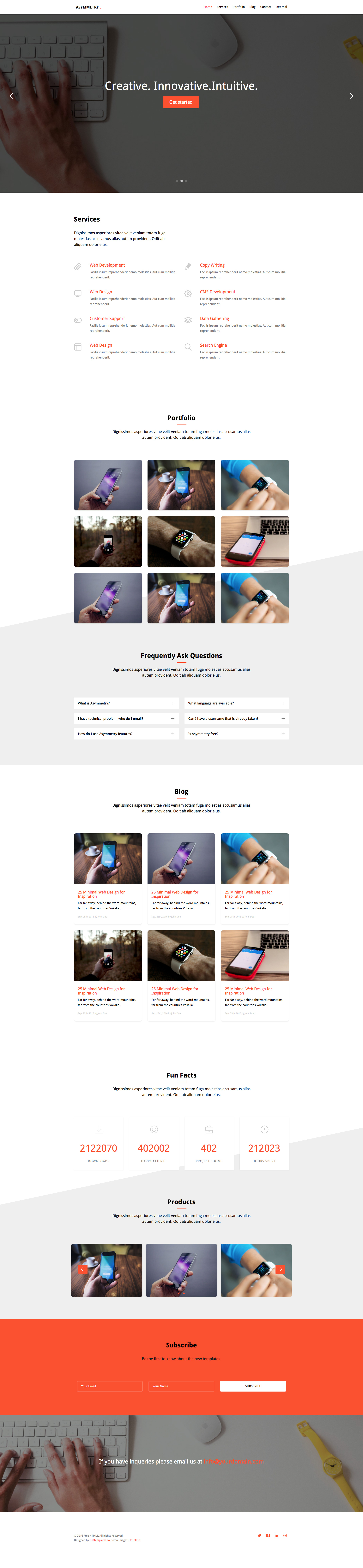 Asymmetry is a free responsive HTML5 one page template for small business and portfolio websites. It features sliders, counter, off-canvas menu and many more. Asymmetry template is fully responsive and built in Bootstrap 3 framework.