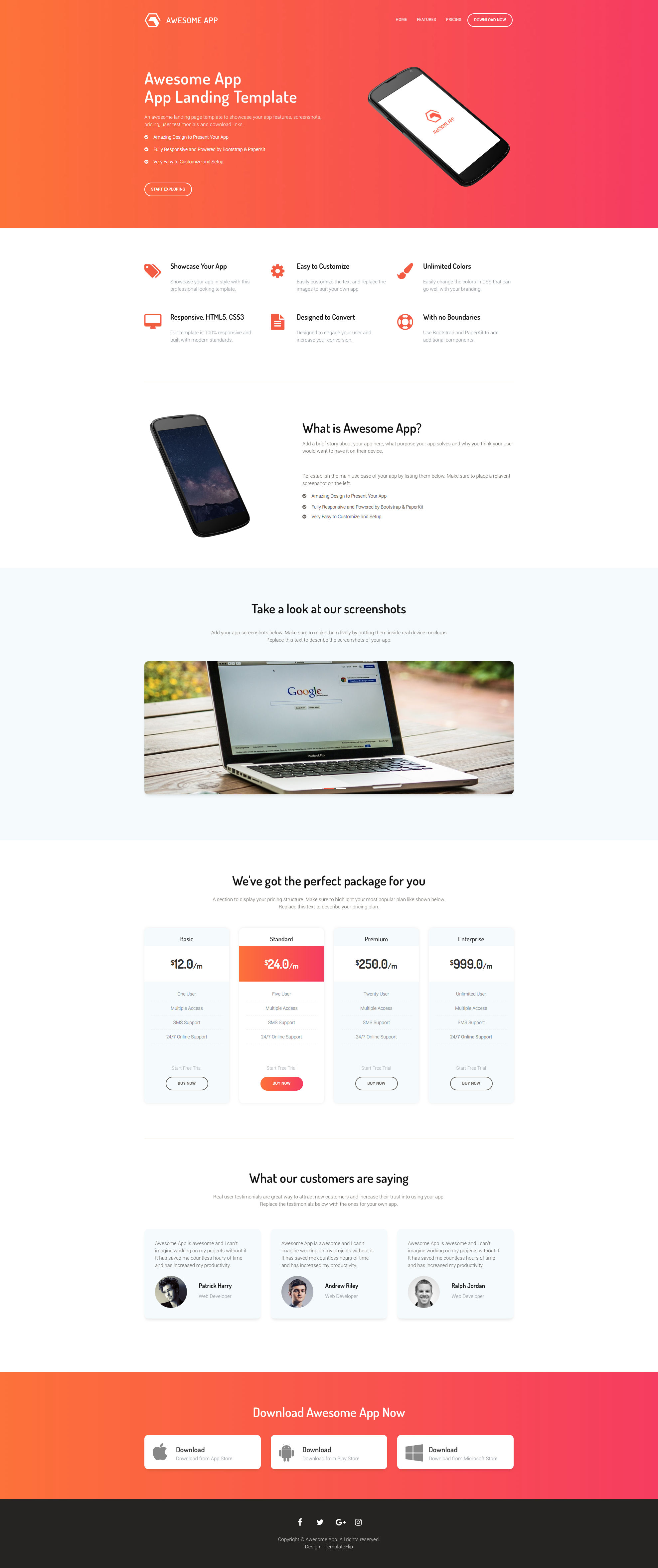 Awesome App Free responsive HTML5 Bootstrap Landing page template