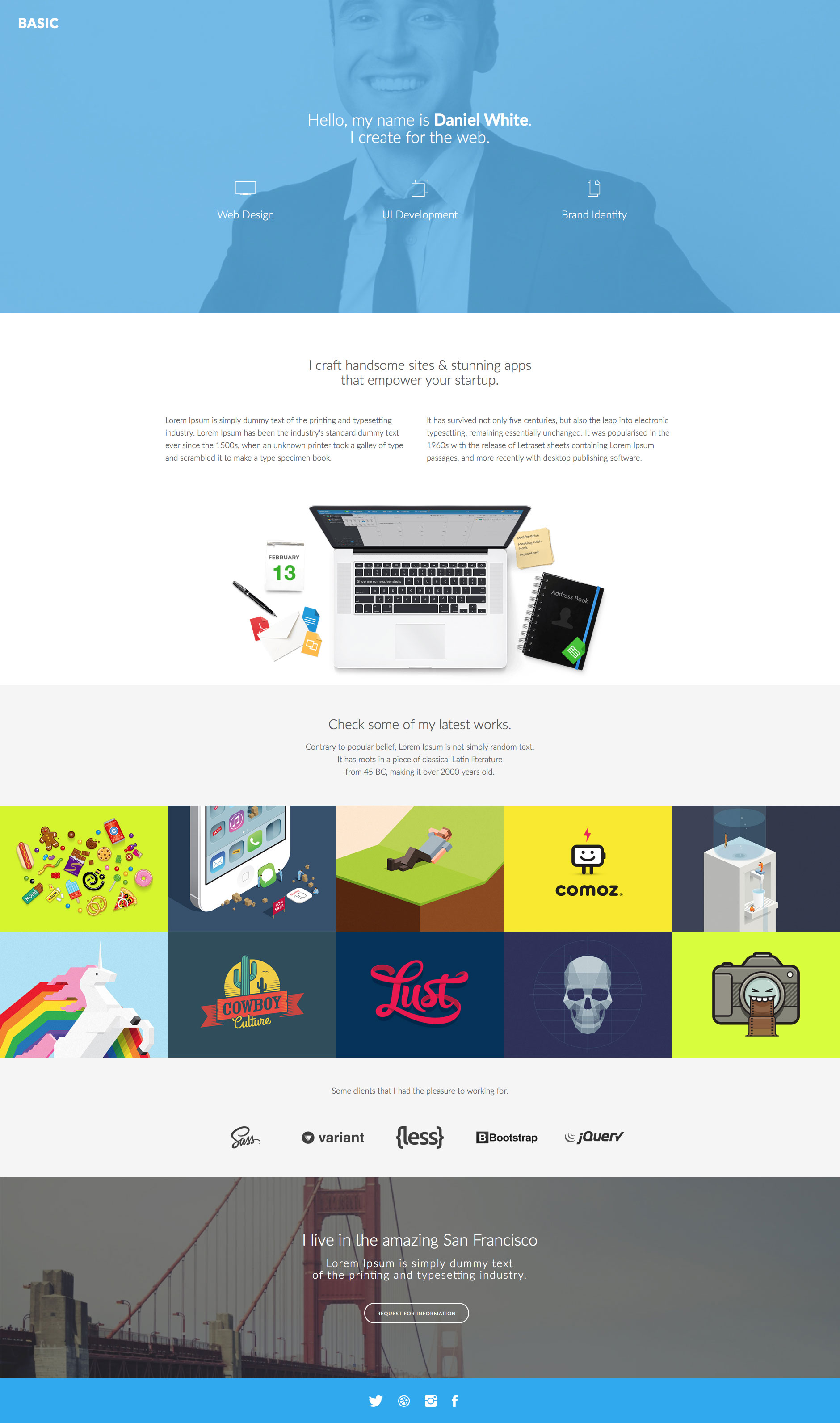 Basic is a modern free responsive HTML5 landing page site template using Bootstrap. Ideal choice for freelancers and other creative people.