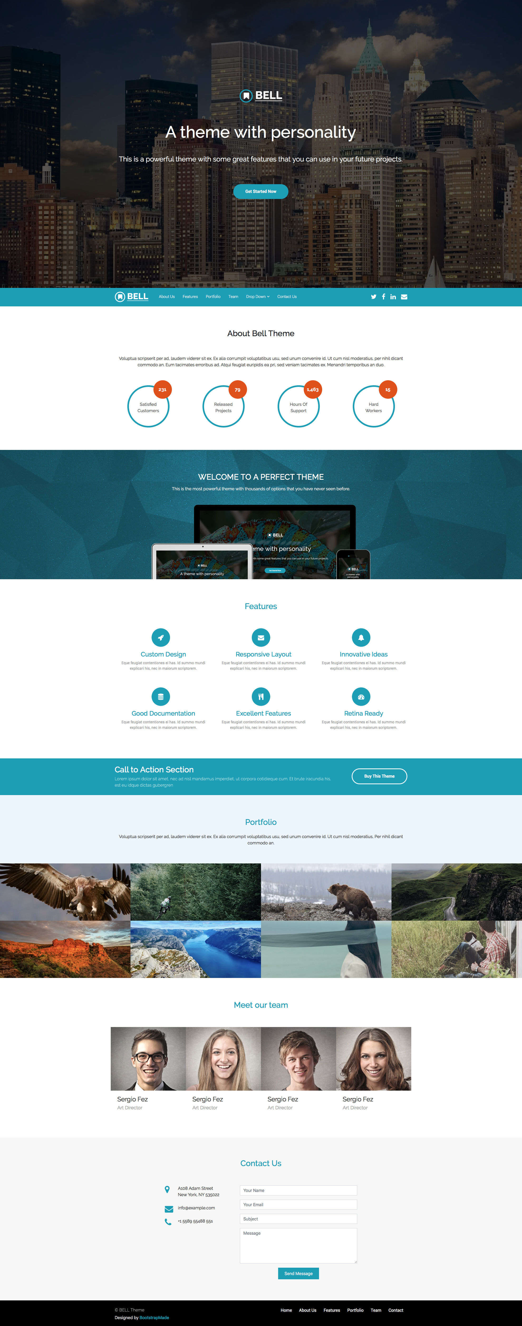Bell is a one page Bootstrap 4 landing page website template. Bell can be an ideal choice for any type of business website. Just change the HTML, the image and the colors and your website will be finished. Bell template is fully responsive and retina ready.