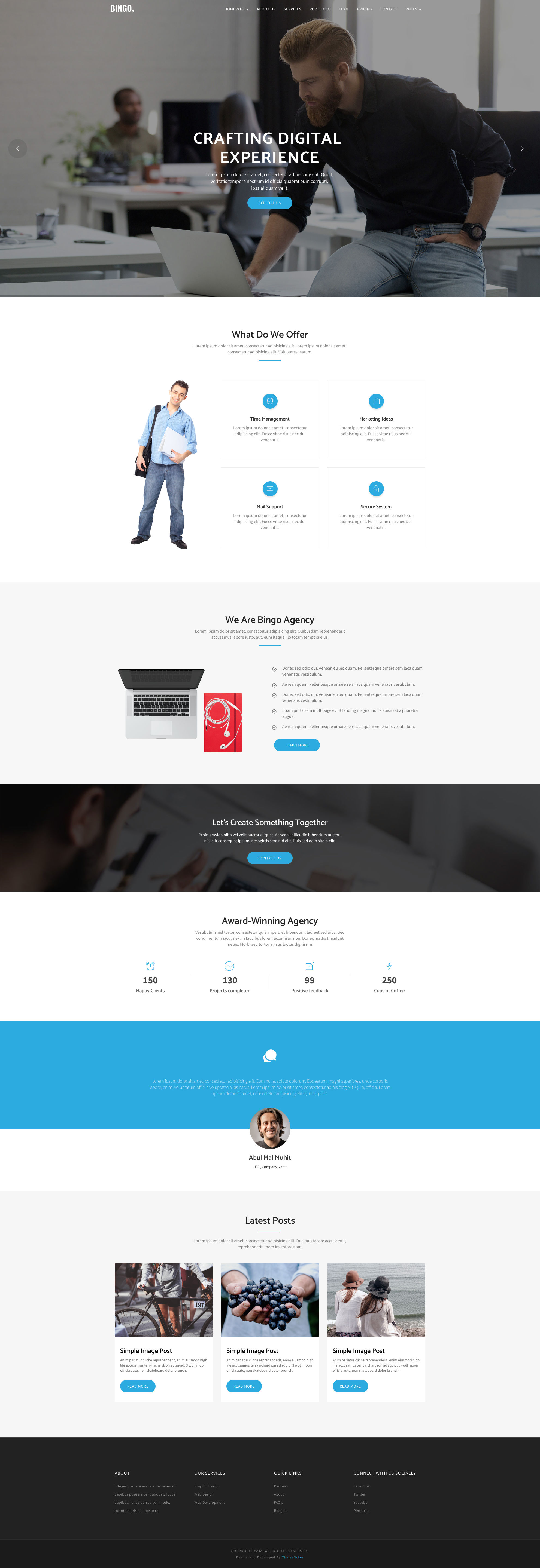 Bingo free HTML5 multi-page website template is the ideal choice for business, corporate or startup websites. Bingo HTML template comes with 70+ crafted components, it is fully responsive, retina ready and comes with Bootstrap CSS Grid System.