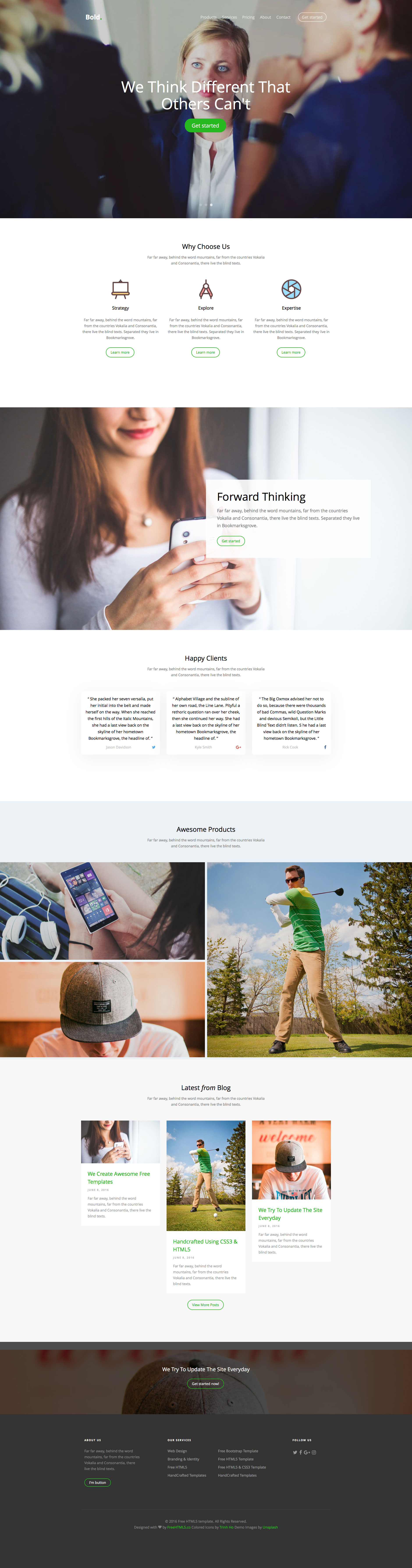 Bold is a free responsive HTML5 website template using Bootstrap 3. Perfect for any kind of business websites.The features of this template are flexslider, Bold features include animation scrolling, pricing table and many others.