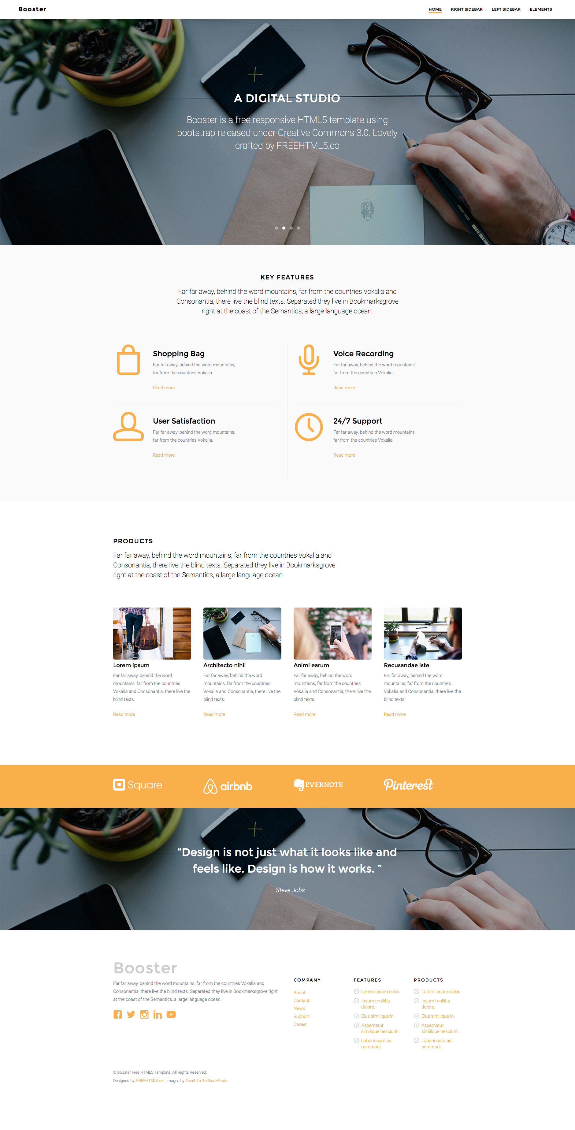 Booster free responsive html5 bootstrap business template booster free html5 template flashek Image collections