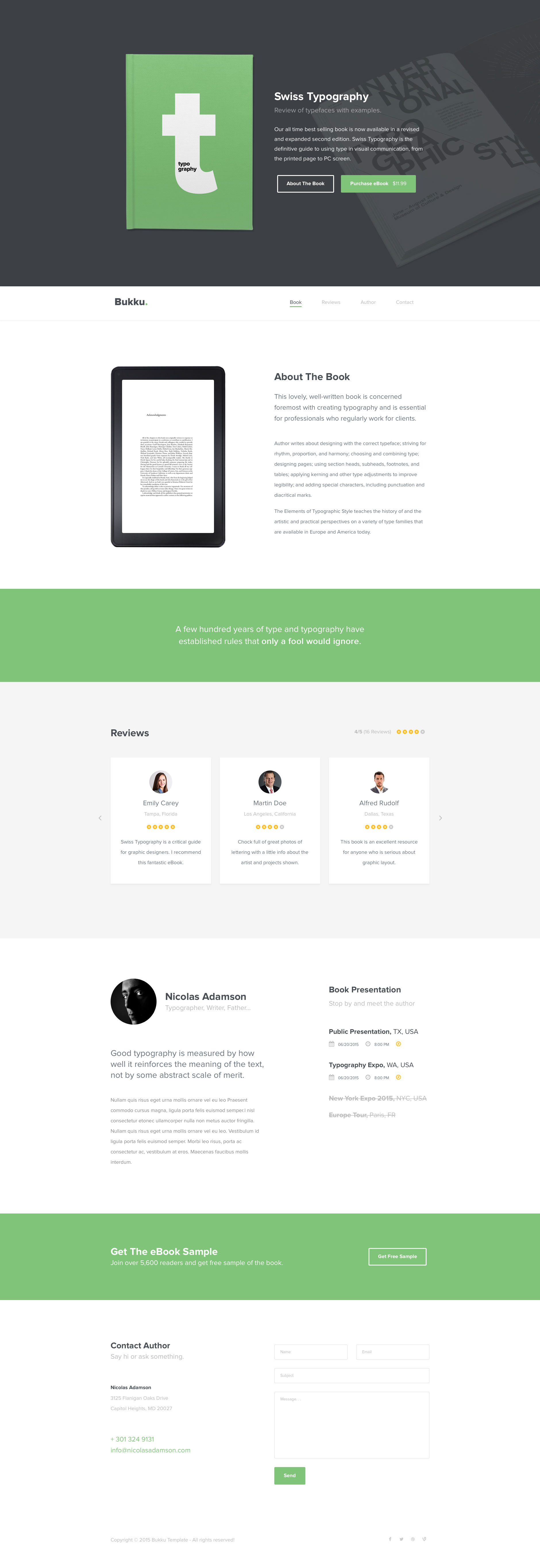 Bukku is a free professional responsive e-book template, it's fully responsive, built with HTML5 and CSS3 and looks stunning on any device. Bukku template uses the popular Bootstrap 3 framework.