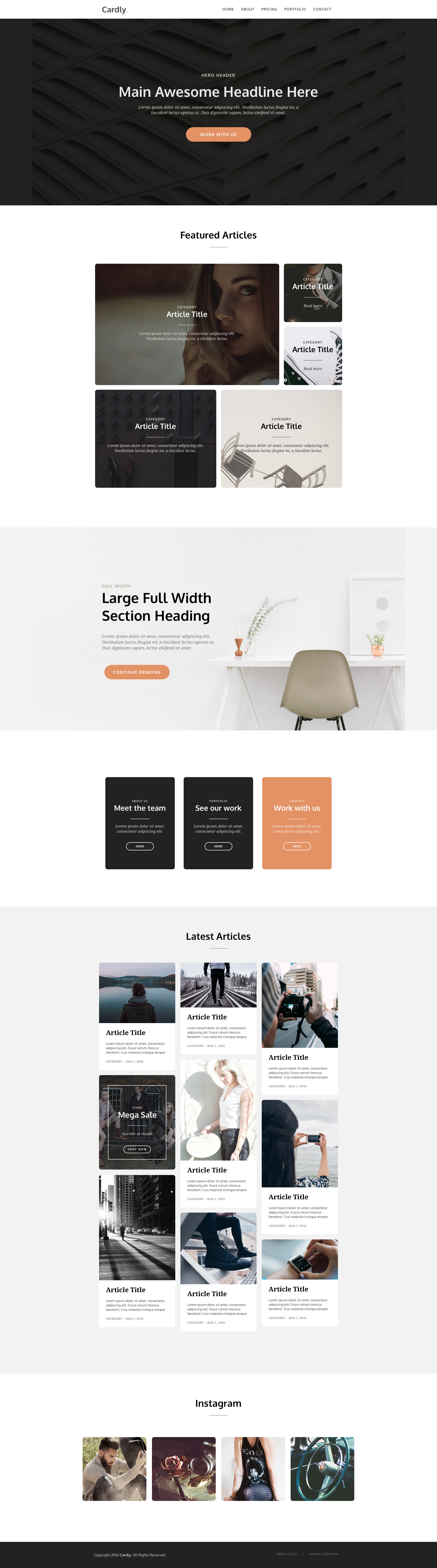 Cardly is a free responsive HTML5 masonry landing page website template uses a card-based layout which makes it very flexible and easy to make responsive across multiple devices and screen sizes. Cardly is a retina ready and fully coded HTML5 and CSS3 masonry template.