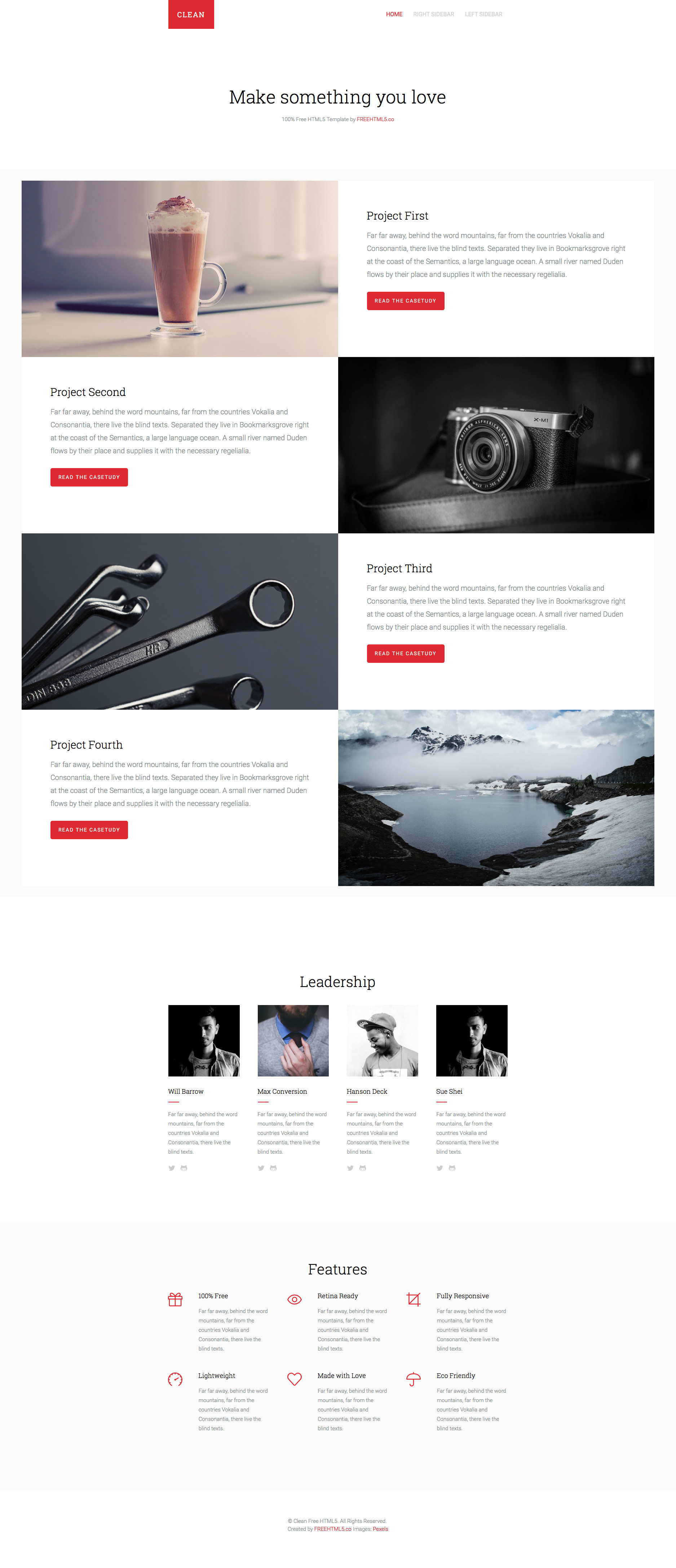 Clean is a minimal free responsive HTML5 multi-purpose website template which comes with smooth and sleek animation upon scrolling. Clean is also fully responsive and a retina-ready template perfect for portfolio sites.