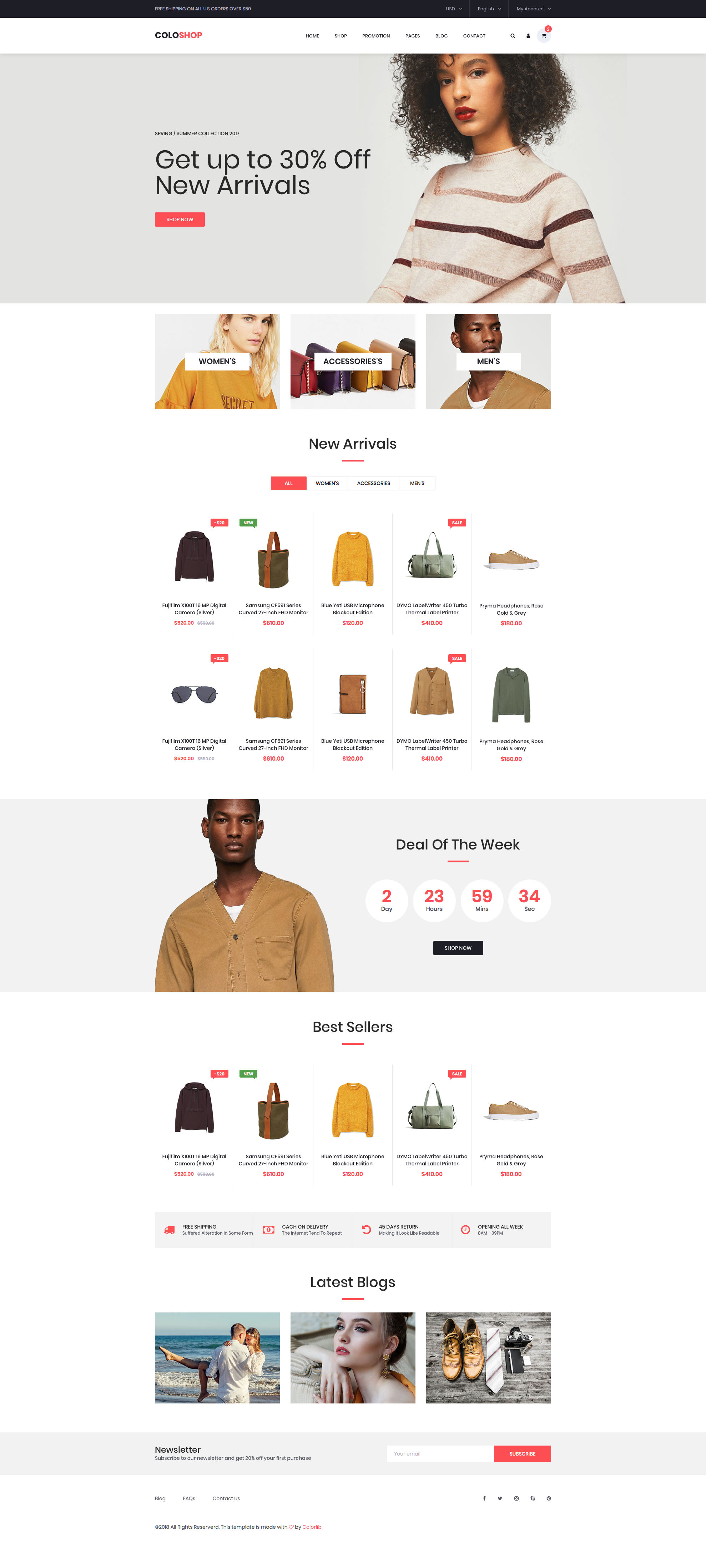 ColoShop is a free HTML Bootstrap eCommerce website template. This free HTML template has a clean and elegant design, it is fully responsive, retina ready and comes with the popular Bootstrap CSS Grid System.