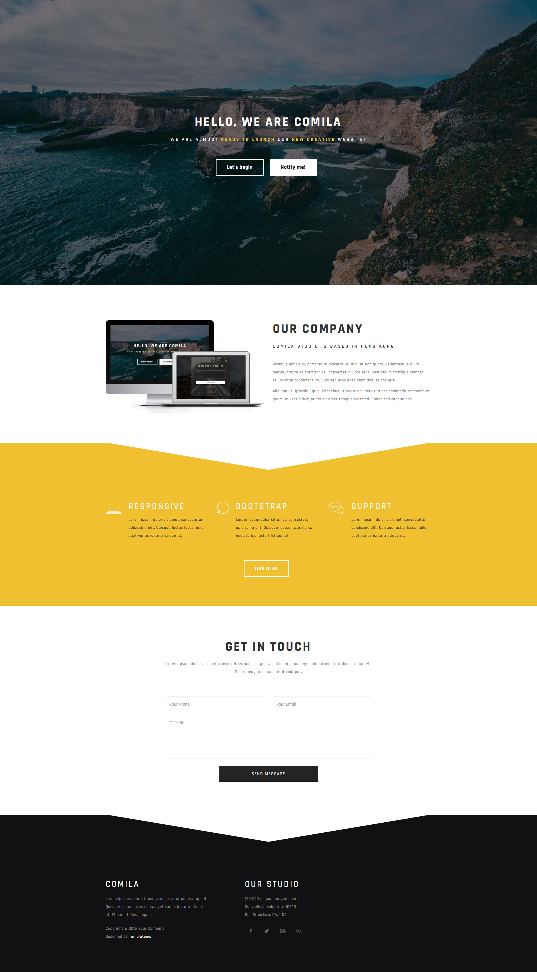 Comila is a modern free responsive HTML5 landing page site template using Bootstrap 3 framework. Ideal choice for freelancers and for business related websites. Comila template is Retina ready and built with the latest HTML5 and CSS3 technology.