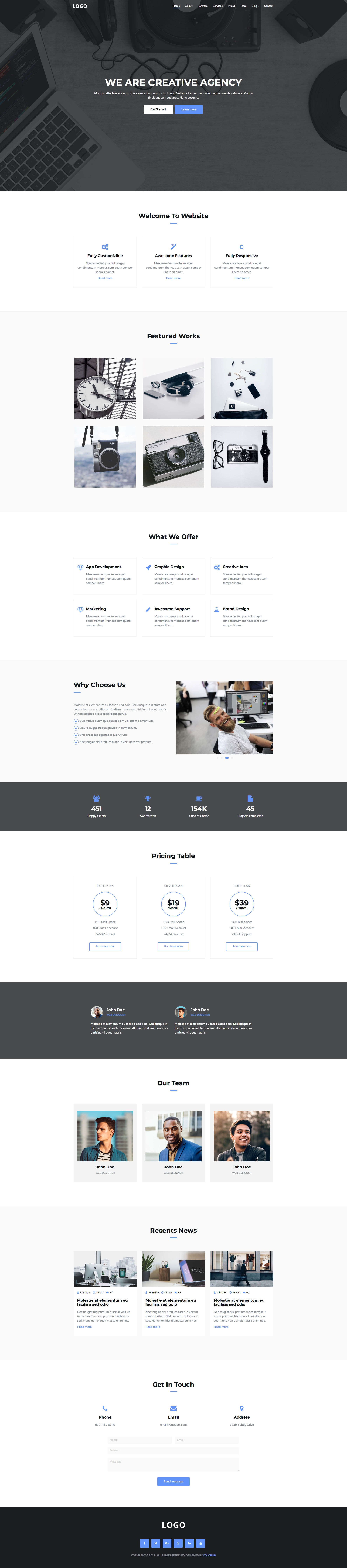 Creative Agency is a modern and minimal free responsive HTML5 one page HTML5 Bootstrap website template. As it names implies, is a free website template for creative, digital and media agencies of any kind. Creative Agency free HTML template is fully responsive, retina ready and comes with the popular Bootstrap CSS Grid System.