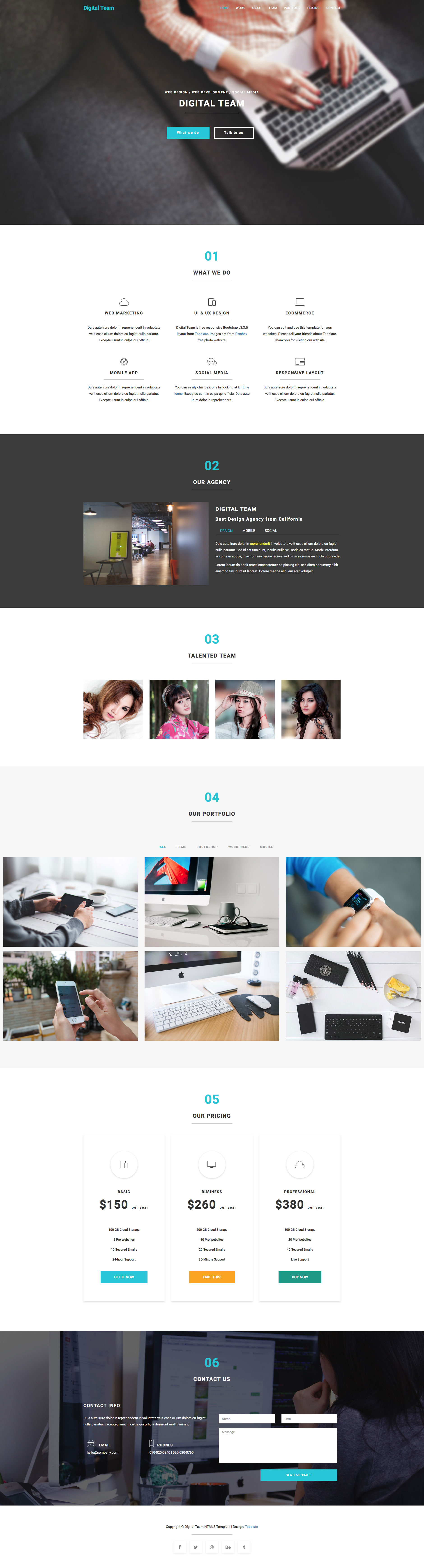 Digital Team is a free responsive multipurpose HTML5 template built with Bootstrap 3. It is an ideal choice for business or agency website. This template is features slideshow, line icons, content tabs, image gallery, pricing tables, and contact form.