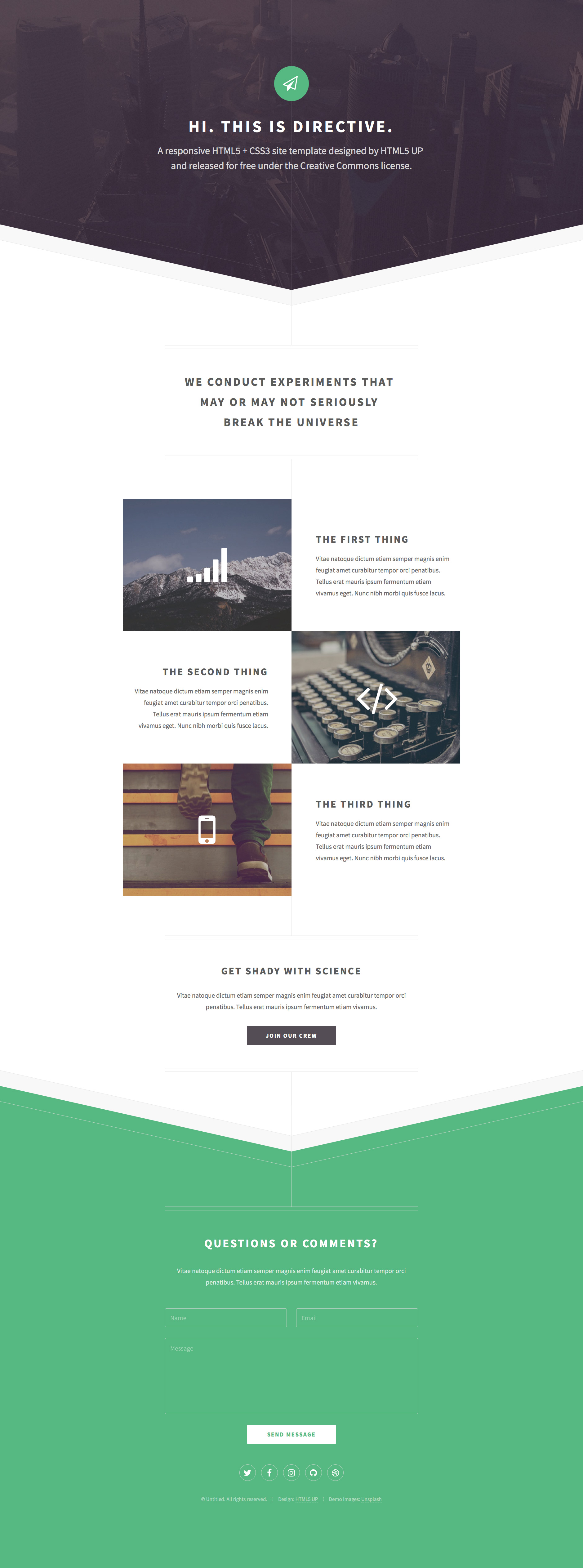 Directive Free Responsive HTML Landing Page Template HTMLTEMPLATESCO - Personal landing page template