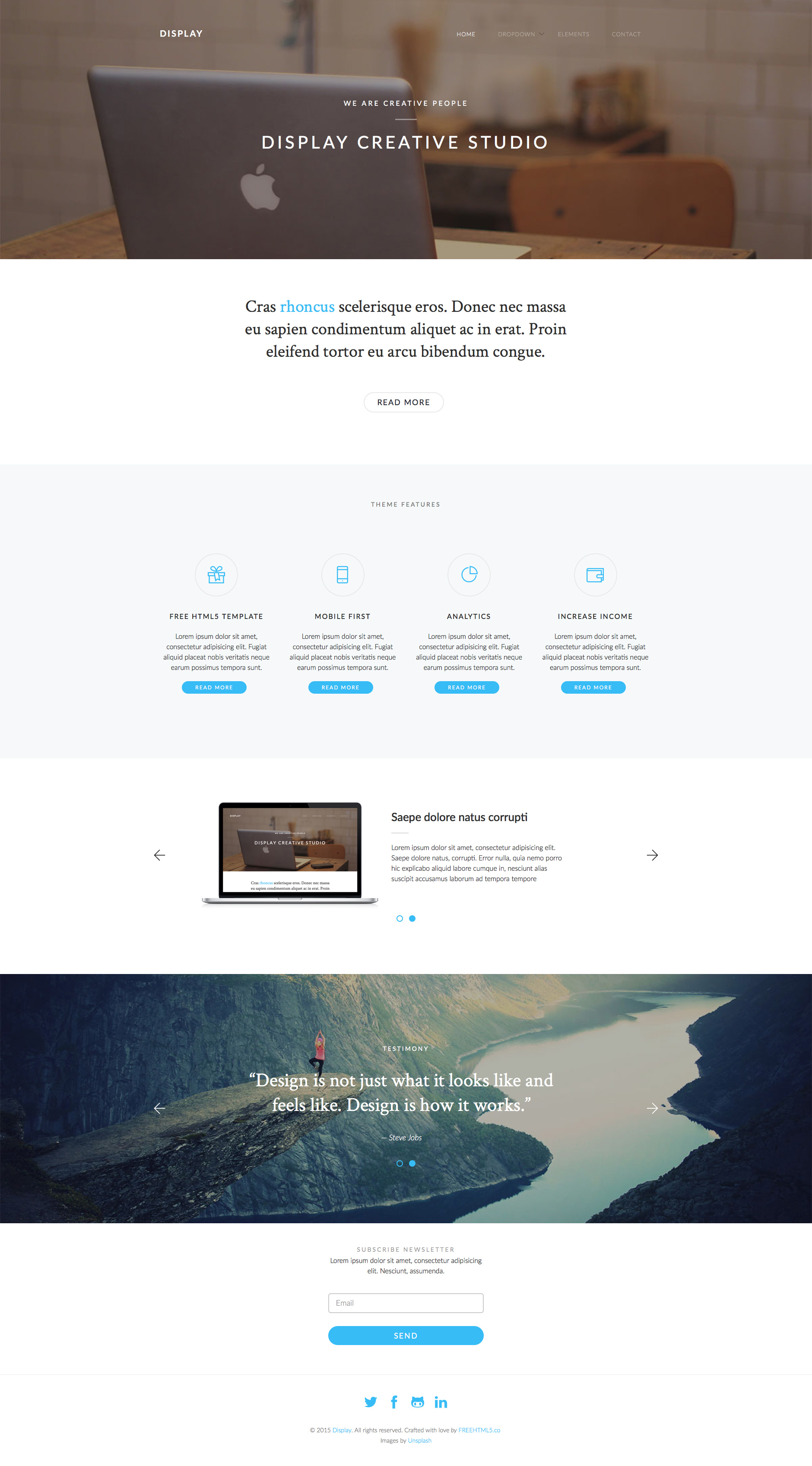 Display is a free responsive HTML5 Bootstrap business website template using Bootstrap 3. This template is the perfect choice for any creative studio, business, corporate or for portfolio. Display template is fully responsive, retina ready and built on the popular Bootstrap 3 framework.