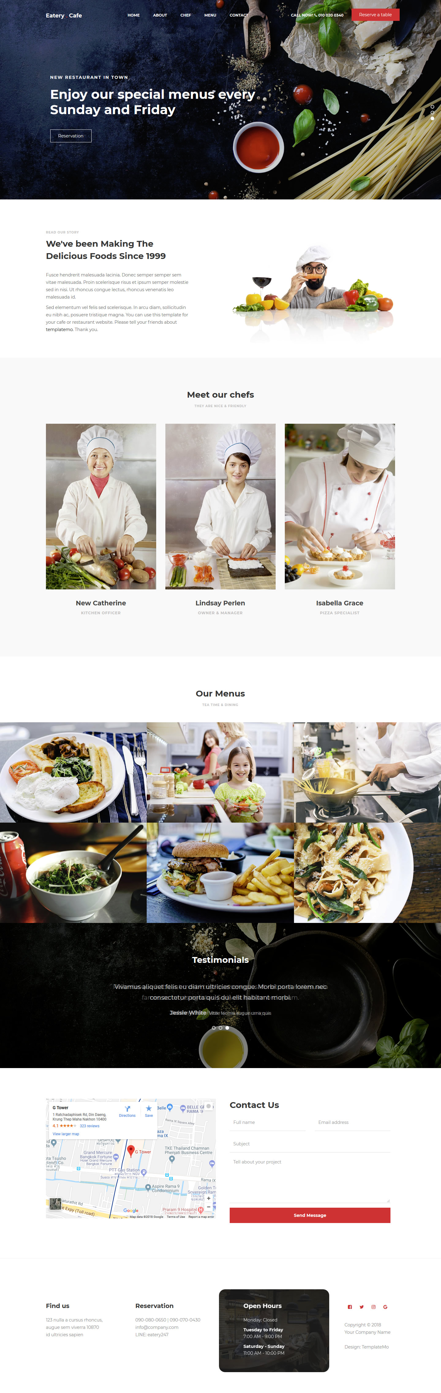 Eatery is a free responsive and cross browser compatible Bootstrap based HTML template. It is also retina ready which makes the template suitable for all the screen sizes. Eatery free HTML template designed for food related websites, coffeeshop, restaurants.