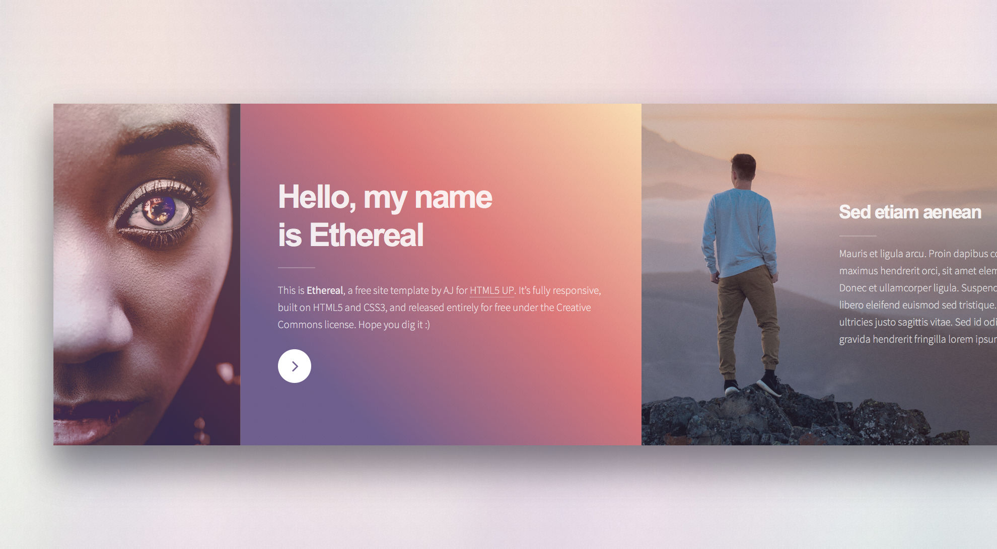 Ethereal is a free responsive side-scrolling HTML5 website template using custom HTML framework. The speciality of this template is the side-scrolling framework with various