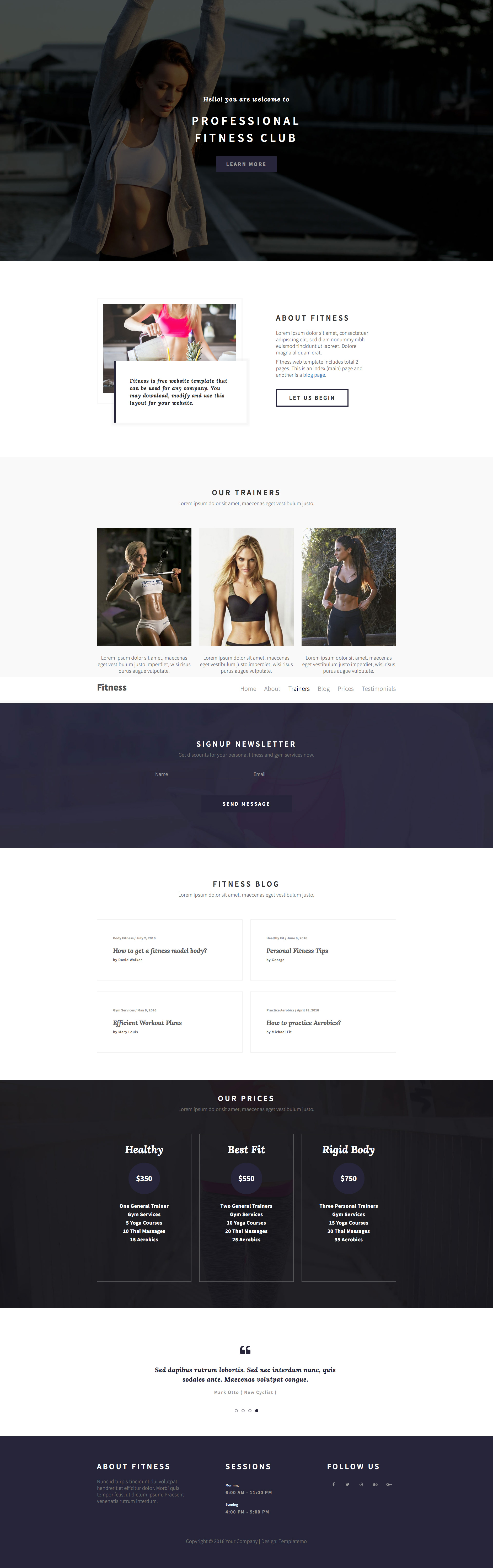 Fitness Free Responsive HTML Bootstrap One Page Template - Html5 web page template