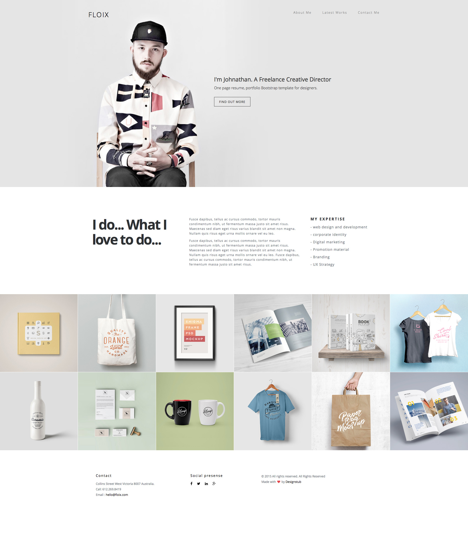 Floix is a free responsive HTML5 Bootstrap one page website template. It is the ideal template for designers and developers. It has retina ready clean and minimal style. Floix built on the popular Bootstrap 3 framework.