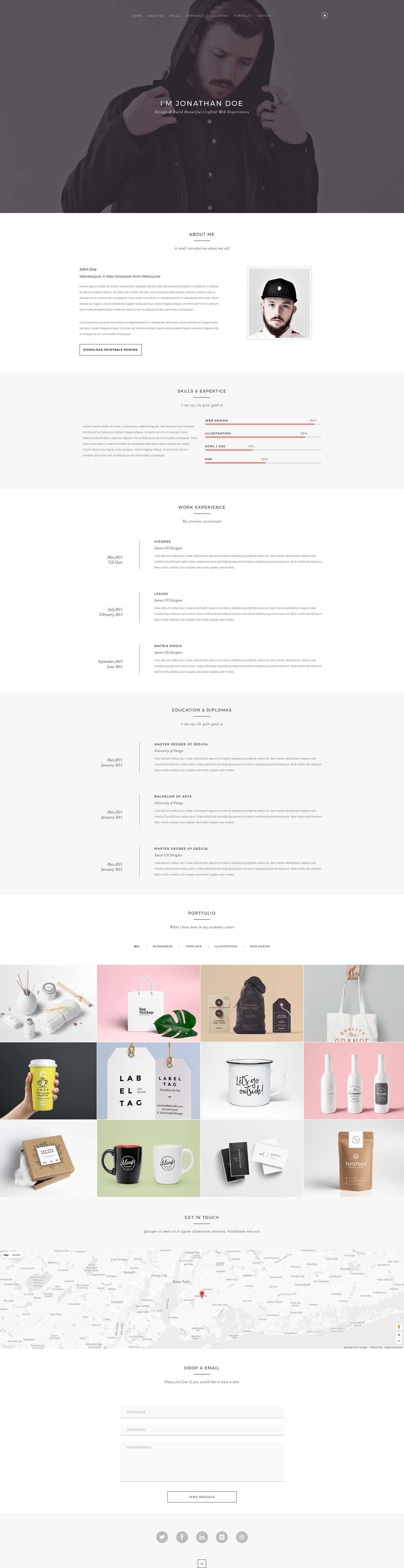 Folio is a free modern and clean responsive HTML5 One page  template powered by Bootstrap. It is a powerful personal resume HTML5 and CSS3 Template which is perfect for Resume / vCard websites.