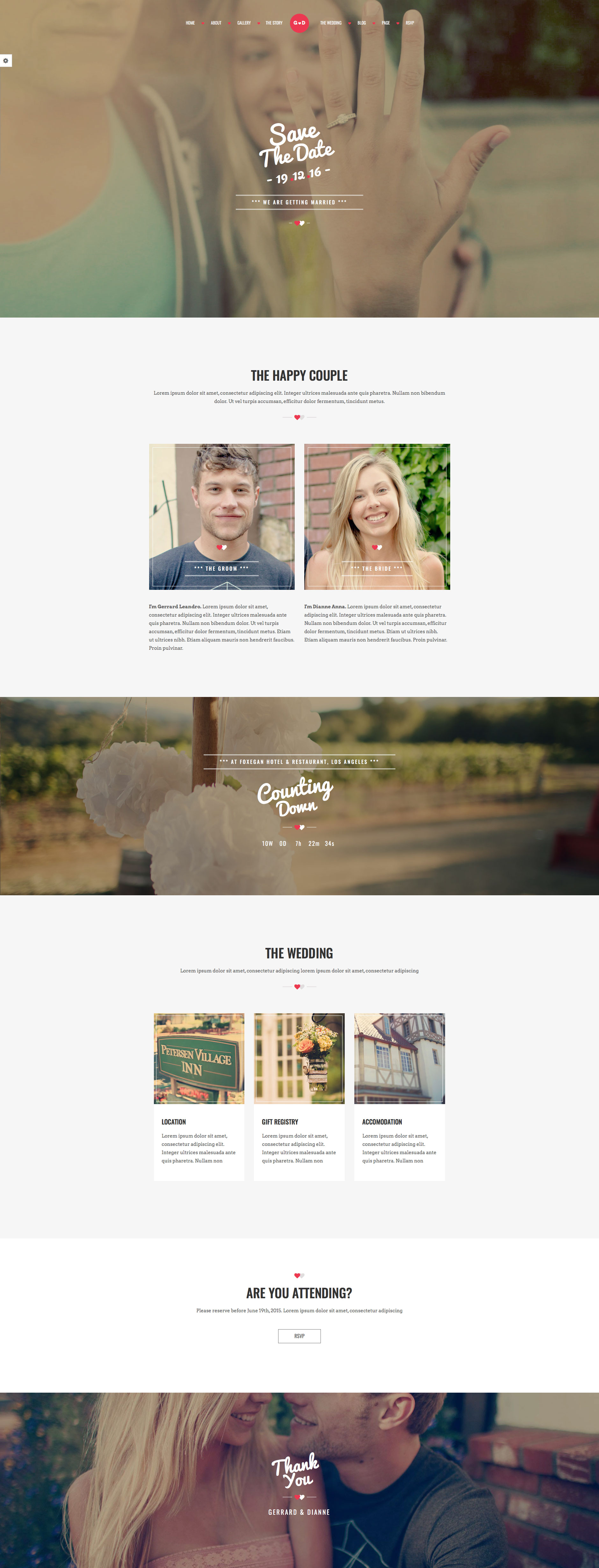 FOREVER is a clean and elegant responsive HTML5 wedding website template, the best choice for wedding invitation or engagement websites. It features Countdown, Couple Timeline, Location Map and many others. FOREVER wedding template is fully responsive and based on the popular Bootstrap framework.