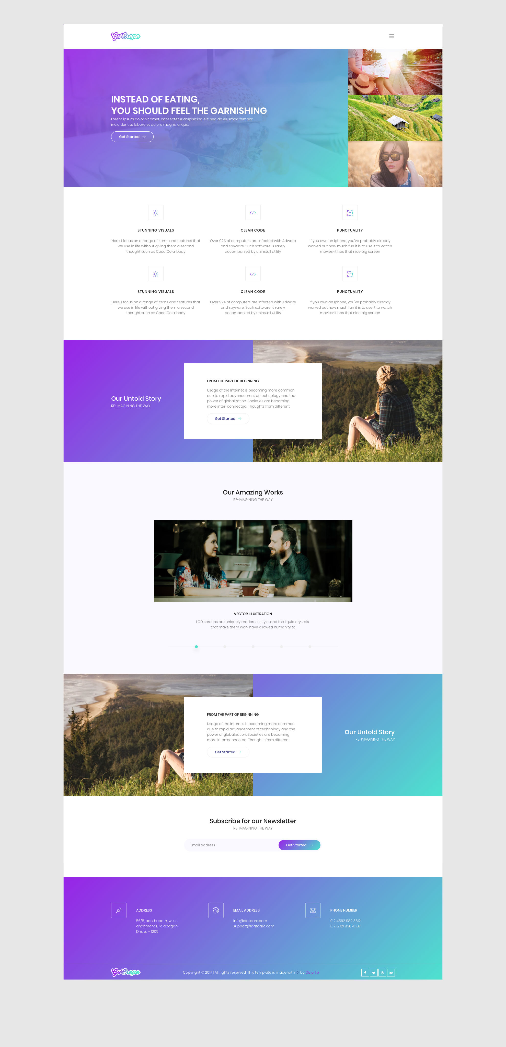 Go Crepe free HTML template is a bright HTML5 landing page website template. This template is ideal choice for any kind of business related websites. comes with 3 pages (Homepage, Generic page, Elements page). Go Crepe free HTML template is fully responsive and comes with the popular Bootstrap CSS Grid System.