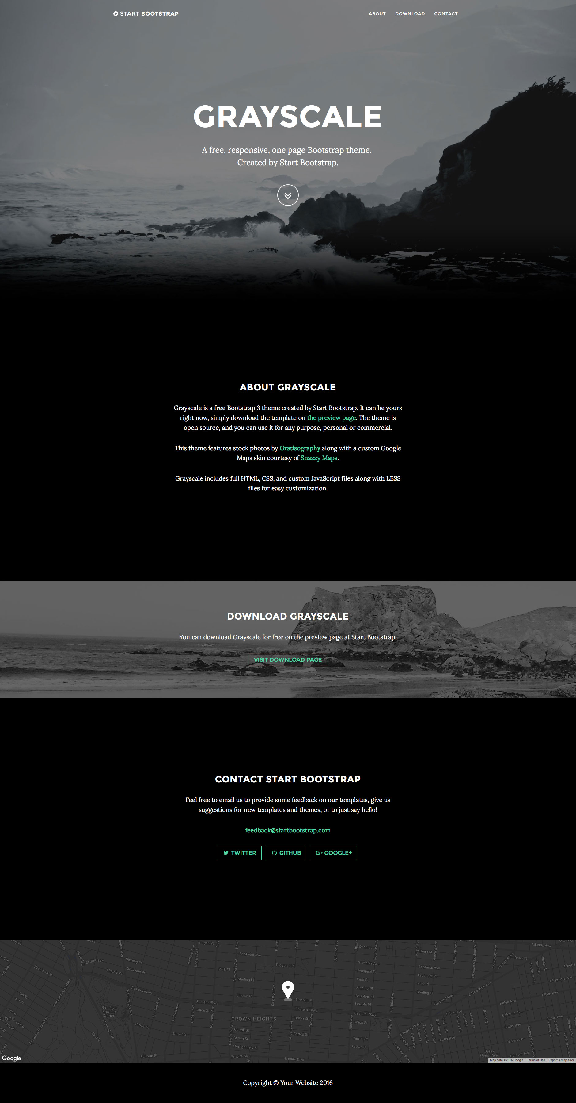 Grayscale is a fully responsive multipurpose HTML5 website template built with the latest HTML5 & CSS3. It features LESS files, fixed top navigation, smooth scrolling, google maps API integration and many more. Grayscale template uses the popular Bootstrap 3 framework.