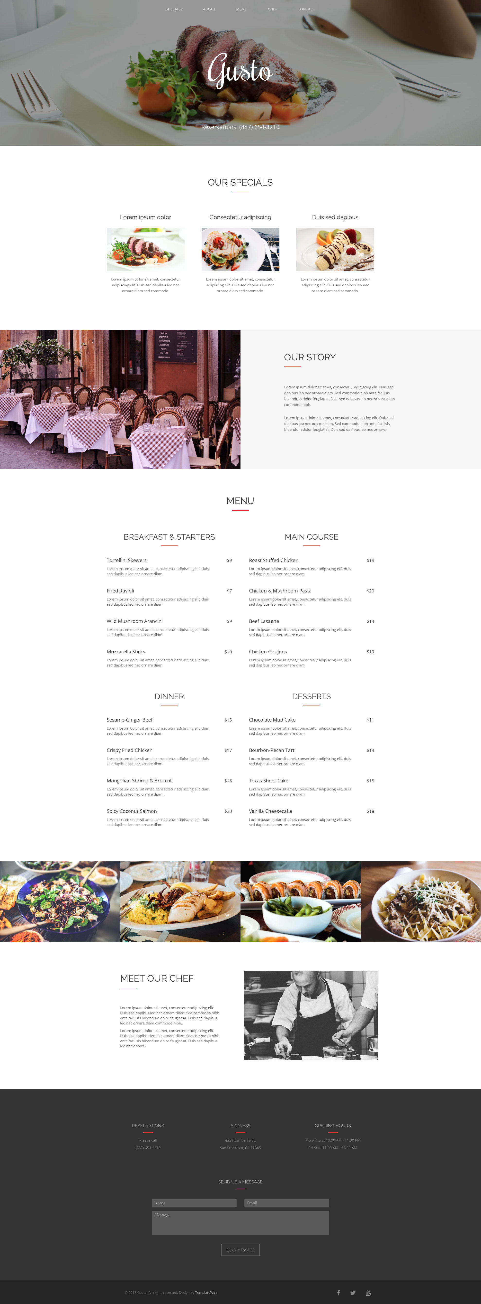 Gusto free HTML Template is a clean and elegant free one page restaurant HTML5 website template. It is clean layout makes it an ideal template for restaurants and food related websites. Gusto free HTML Template is fully responsive and comes with Bootstrap 4 CSS Grid System.