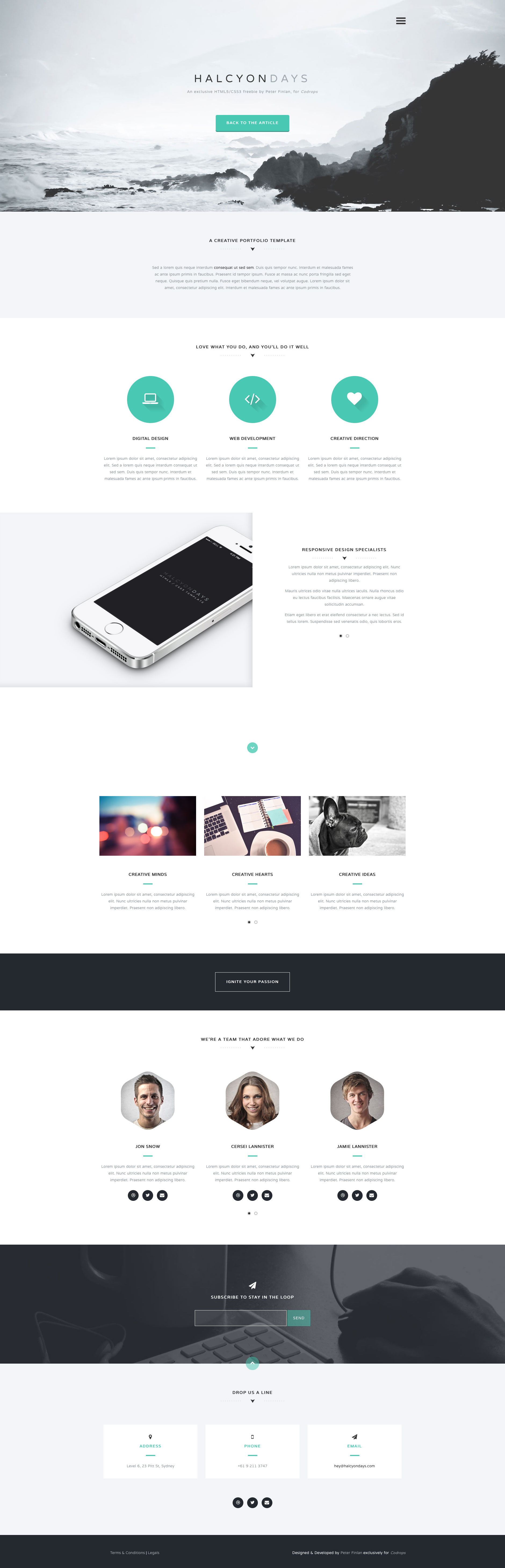 Halcyon Days is a minimalist free responsive HTML5 one page website template based on Bootstrap 3 framework. It's the best choice for business, product or personal websites.