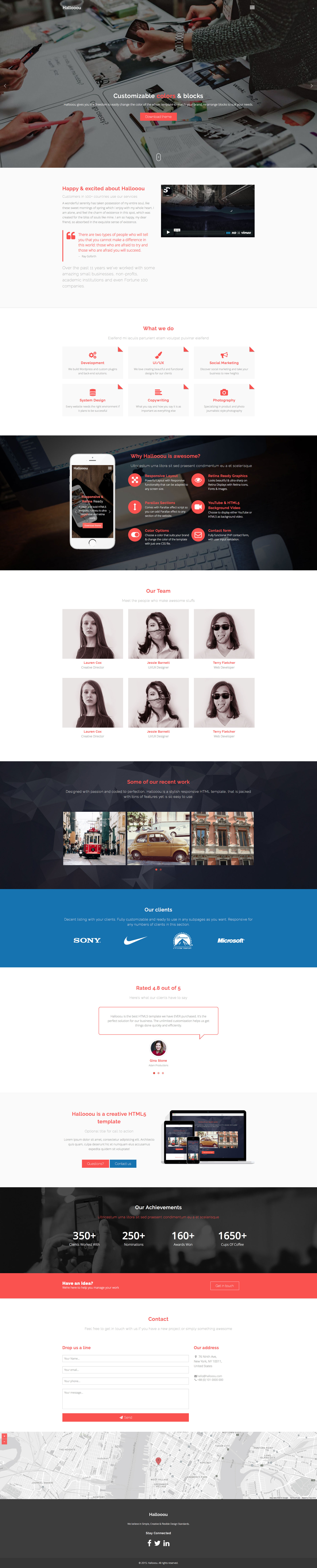 Hallooou is multi-purpose, creative, one page parallax, responsive HTML5 template for portfolio showcase, modern businesses, personal use. The template is fully responsive and built with Bootstrap 3 framework.