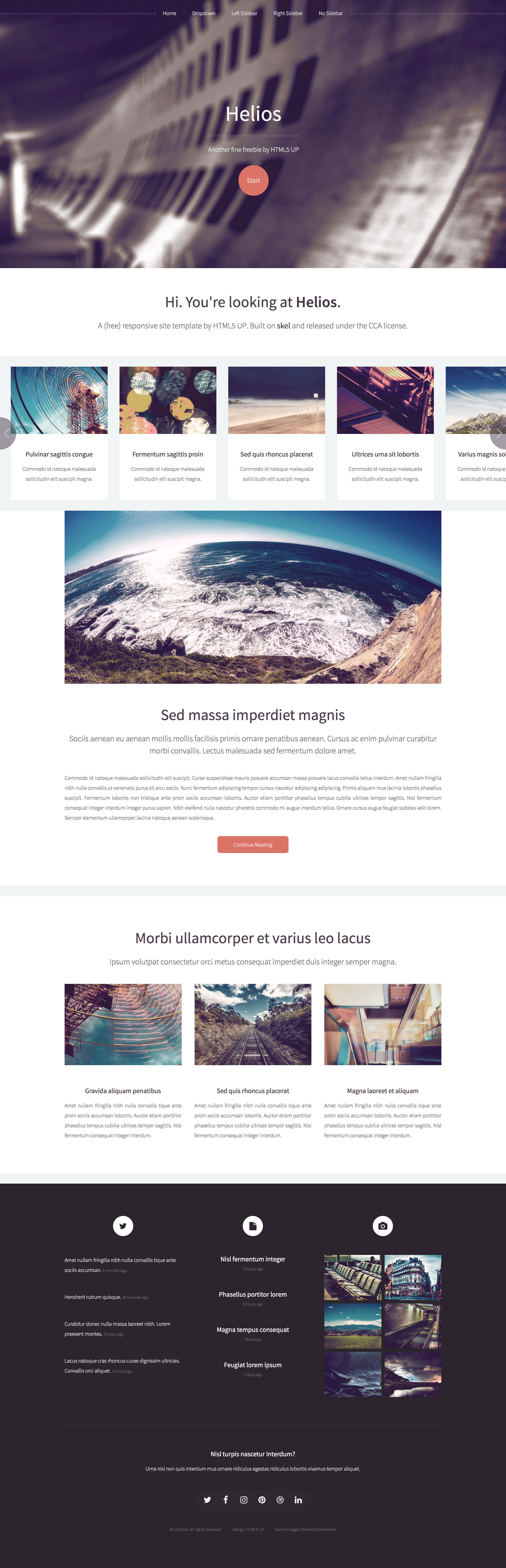 Helios, is a clean, modern and free responsive HTML5 template. It's designed for larger (well, wider) displays. The prefect choice for personal websites.