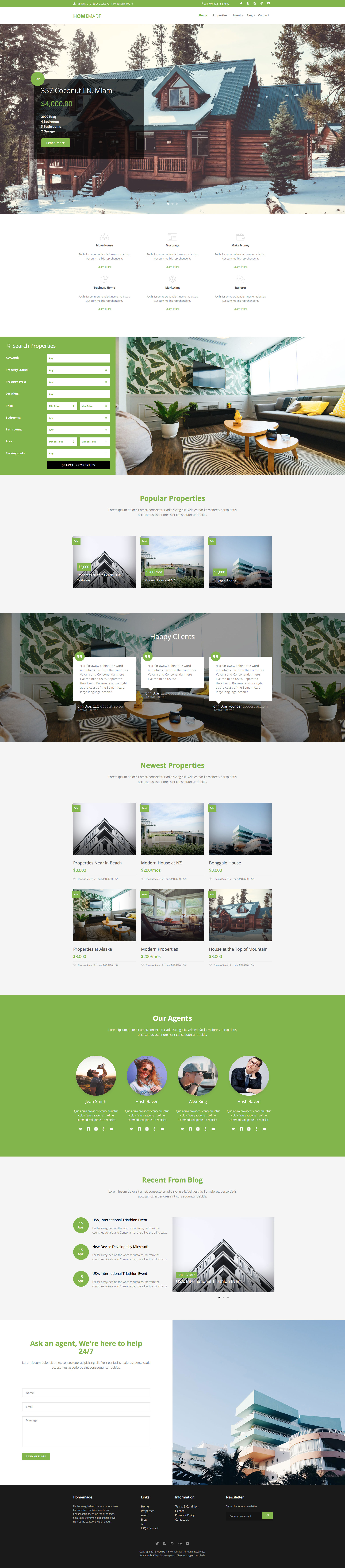 Bootstrap Real Estate Template Free from htmltemplates.co