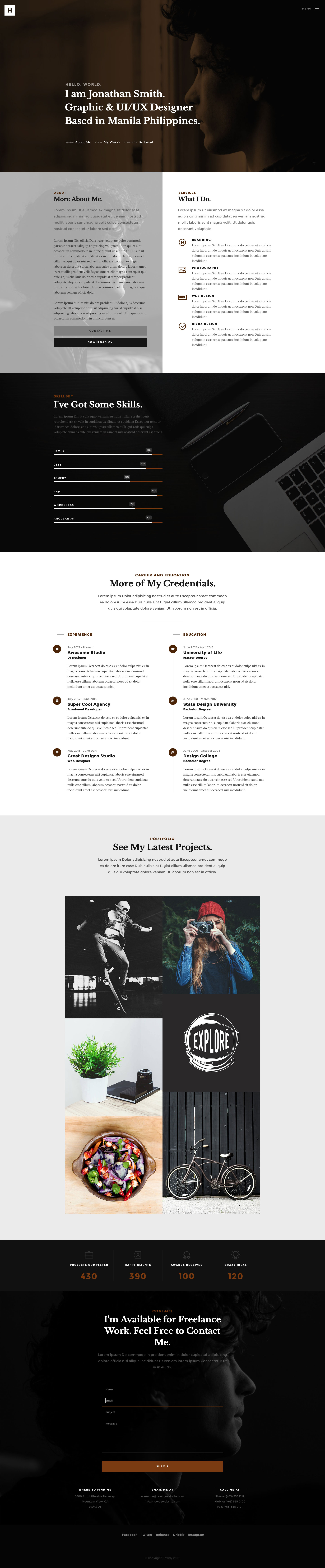 Howdy is a modern and free responsive HTML5 Portfolio website template created for designers and freelancers. It is the ideal choice to showcasing your work. Howdy is built on the latest HTML5 and CSS3.