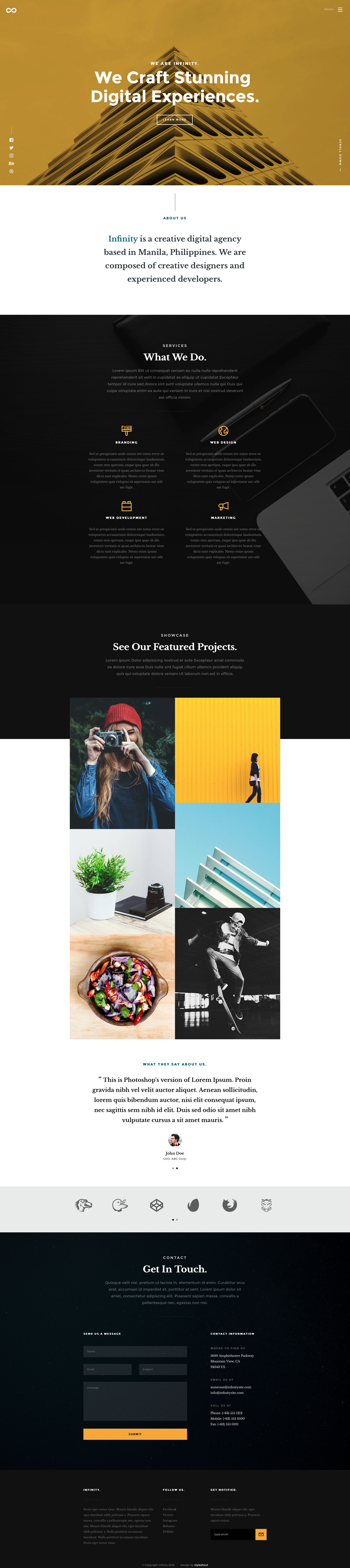 Infinity is a free clean and modern responsive HTML5 website template designed for creatives and agencies. Infinity template is mobile and retina/hi-dpi ready, it has clean and well organized code which makes the template very easy to customize.