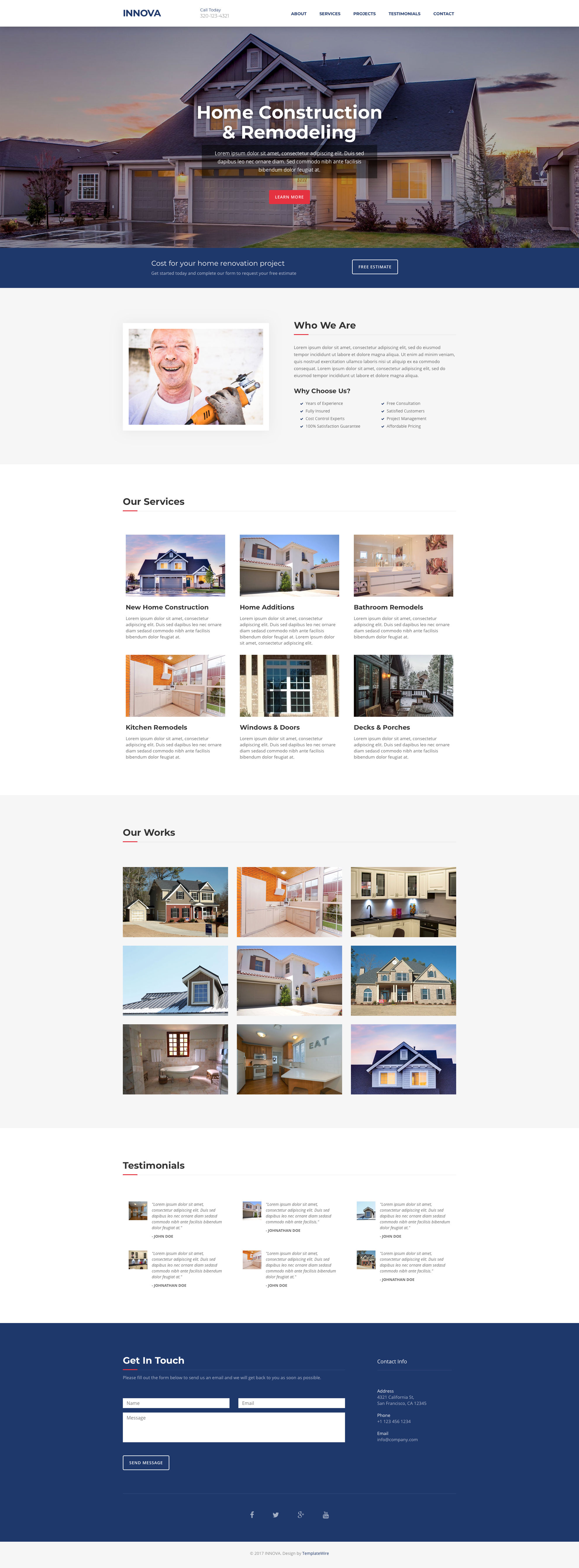Innova free HTML template is a free one page HTML5 website template powered by Bootstrap. This template suited for construction based websites. Innova free HTML template is built on Bootstrap framework and contains 5 sections: About, Services, Projects, Testimonials and Contact. It has an fully responsive layout, testimonials section, working contact form and more.