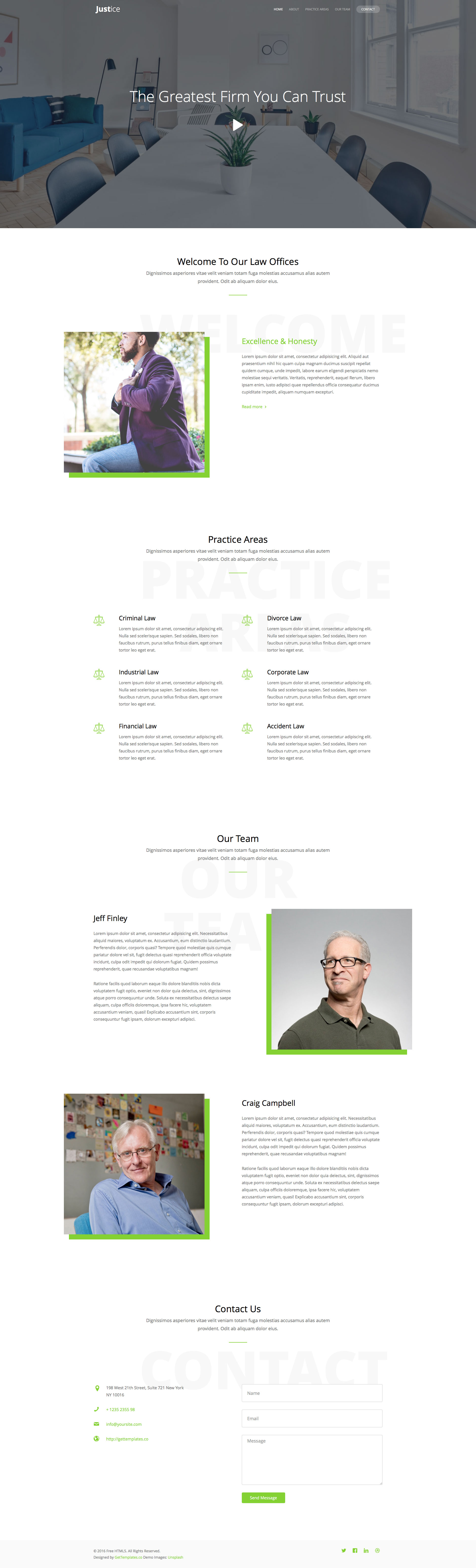 Justice is a responsive HTML5 Bootstrap one page website template, designed with clean a minimalist style. It's fully responsive and based on Bootstrap 3 framework. The perfect HTML5 template to showcase your services.
