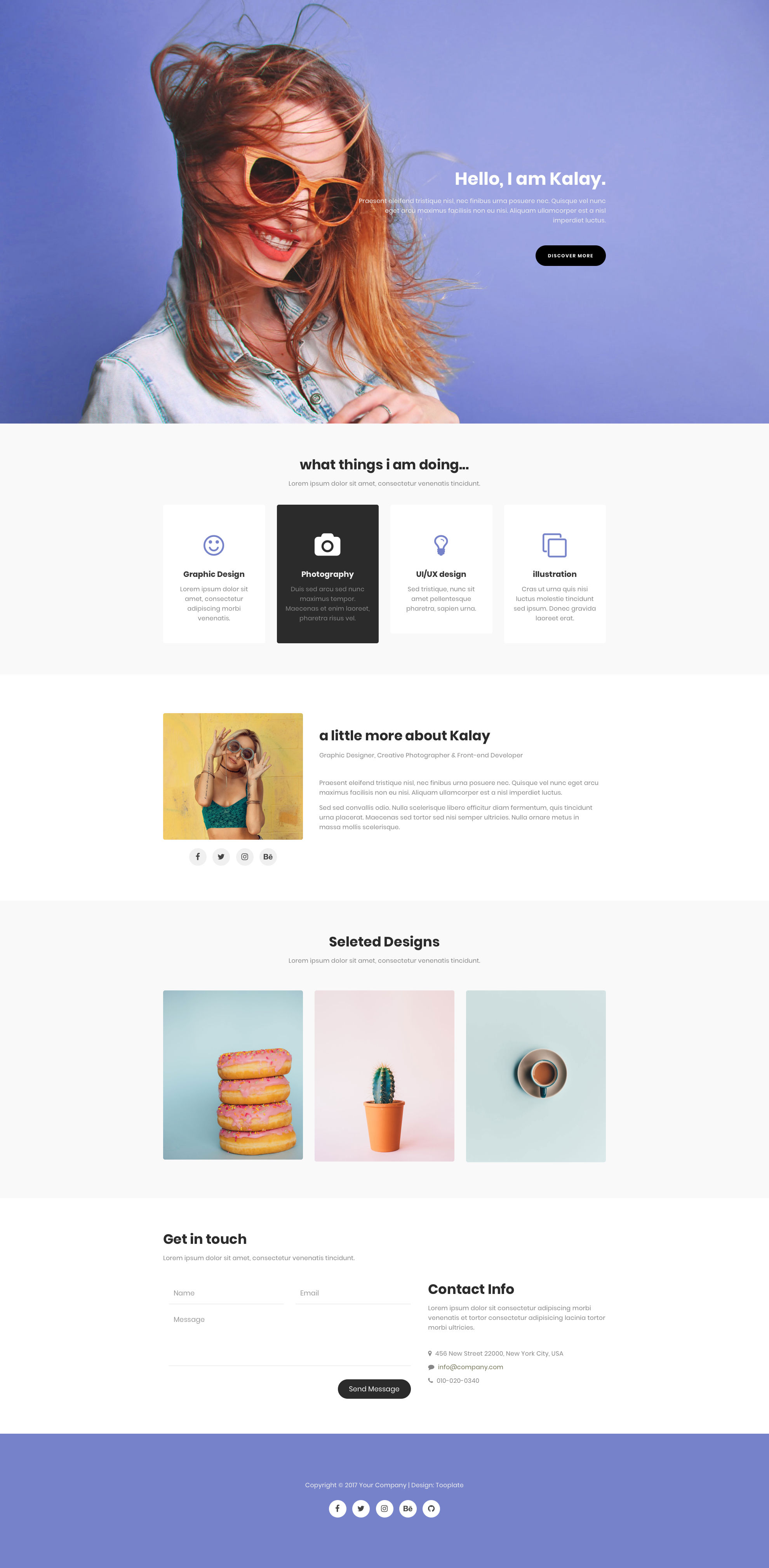 Kalay HTML template is simple and clean responsive HTML5 Bootstrap Portfolio website template. It is the right choice for personal, portfolio or photography websites. Kalay HTML template is based on purple and white colors, fully responsive, retina ready and comes with Bootstrap CSS Grid System.