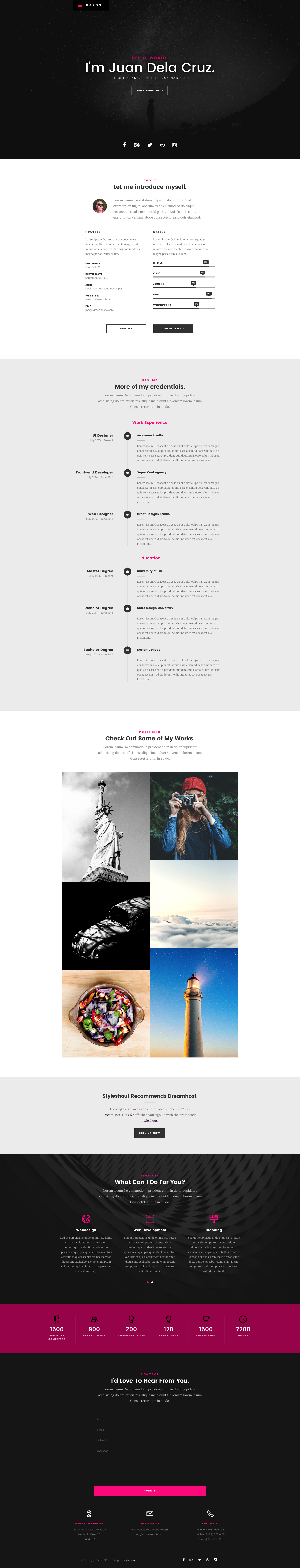 Kards is a modern and clean free responsive HTML5 portfolio website template. It has many features like timeline, stats section, skillbars, working ajax form, masonry portfolio section to showcase your works and many more. Kards template is retina ready and also looks great on all devices from mobile to desktop.