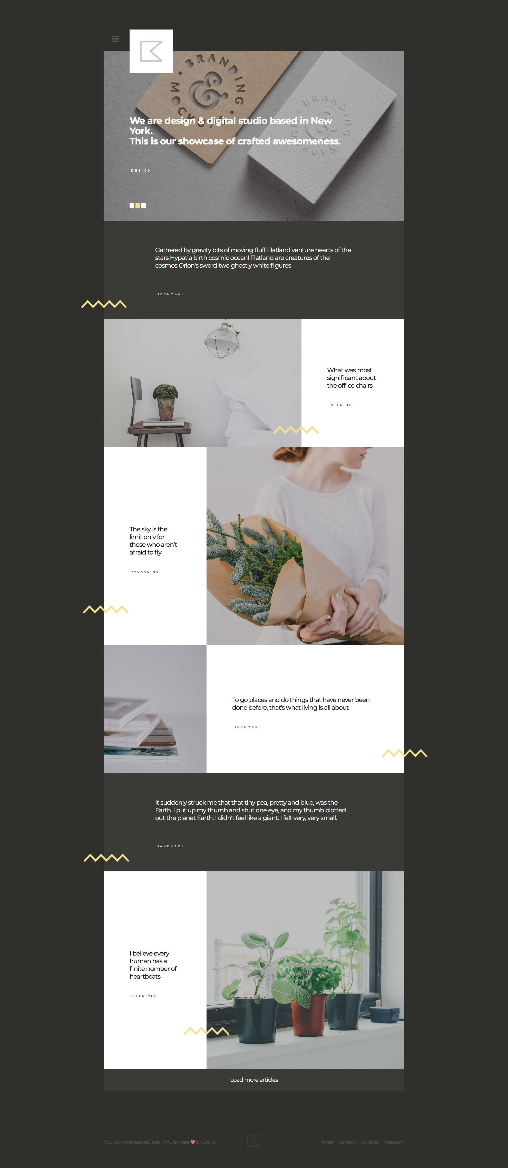 Katt HTML template is a creative HTML5 Portfolio and blog website template. This portfolio template comes with 5 different pages and well suited for for artists, designers, and other bloggers. Katt HTML Portfolio template is retina ready and comes with custom CSS Grid System.