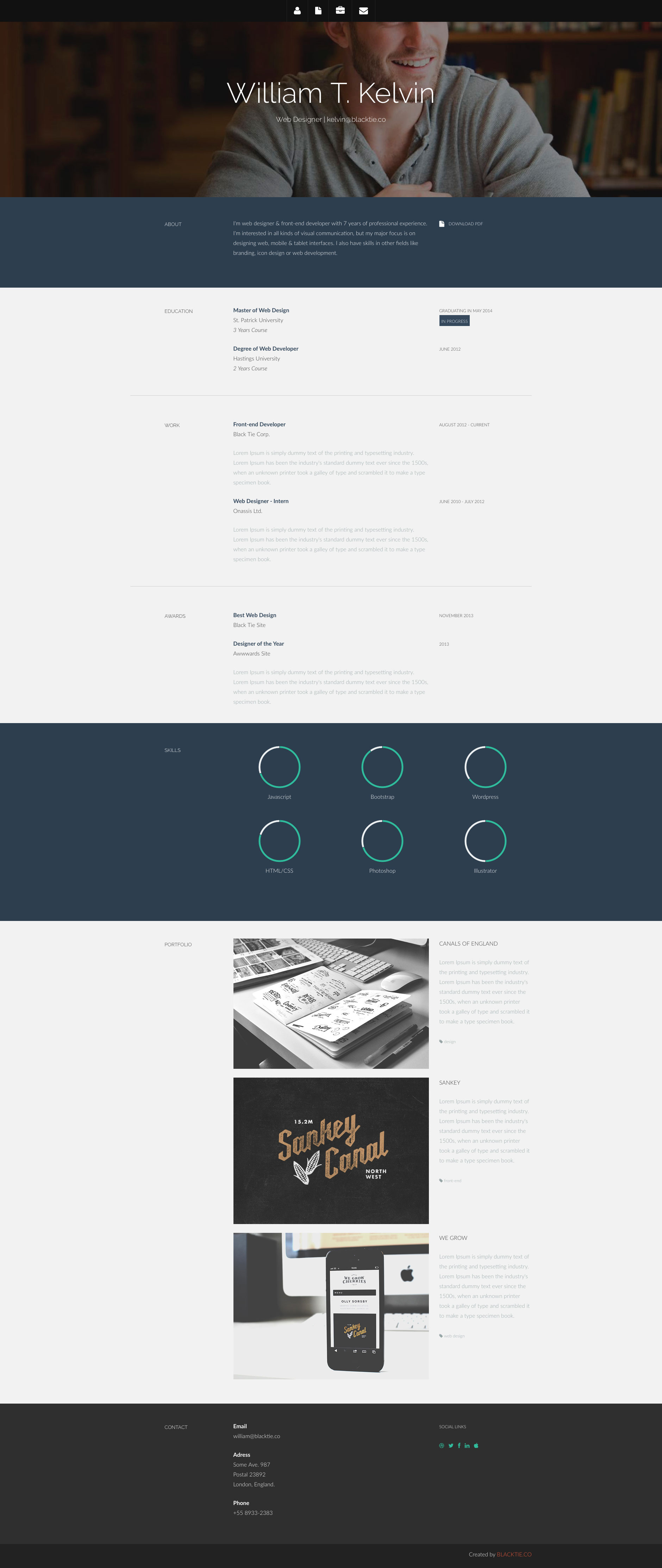Kelvin is a free HTML5 Bootstrap Resume website template. It will help you impress more hiring managers, land more interviews, and get hired faster. Kelvin template is fully responsive and built on the popular Bootstrap 3.