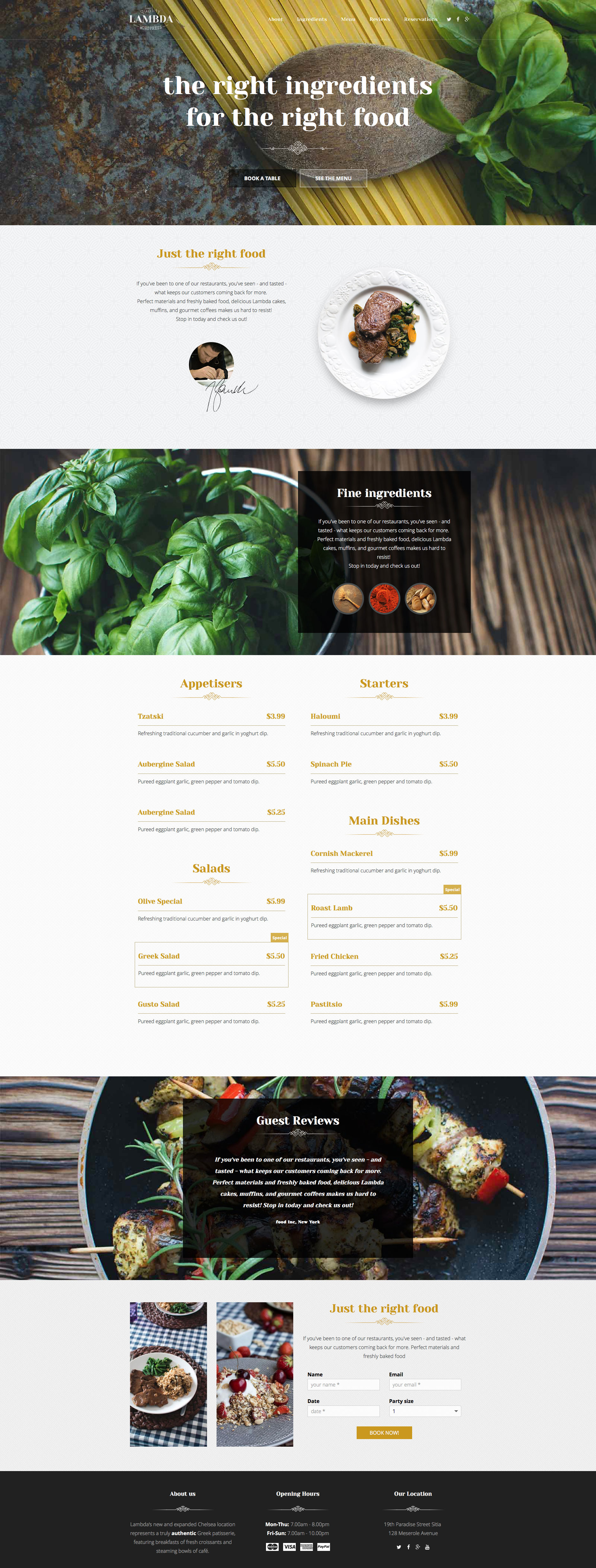 Lambda is a free modern, fully responsive restaurant HTML5 website template built with Base framework. It features LESS, minimal CSS, full 12 column grid support, Retina support. This template is the perfect choice for restaurant websites.