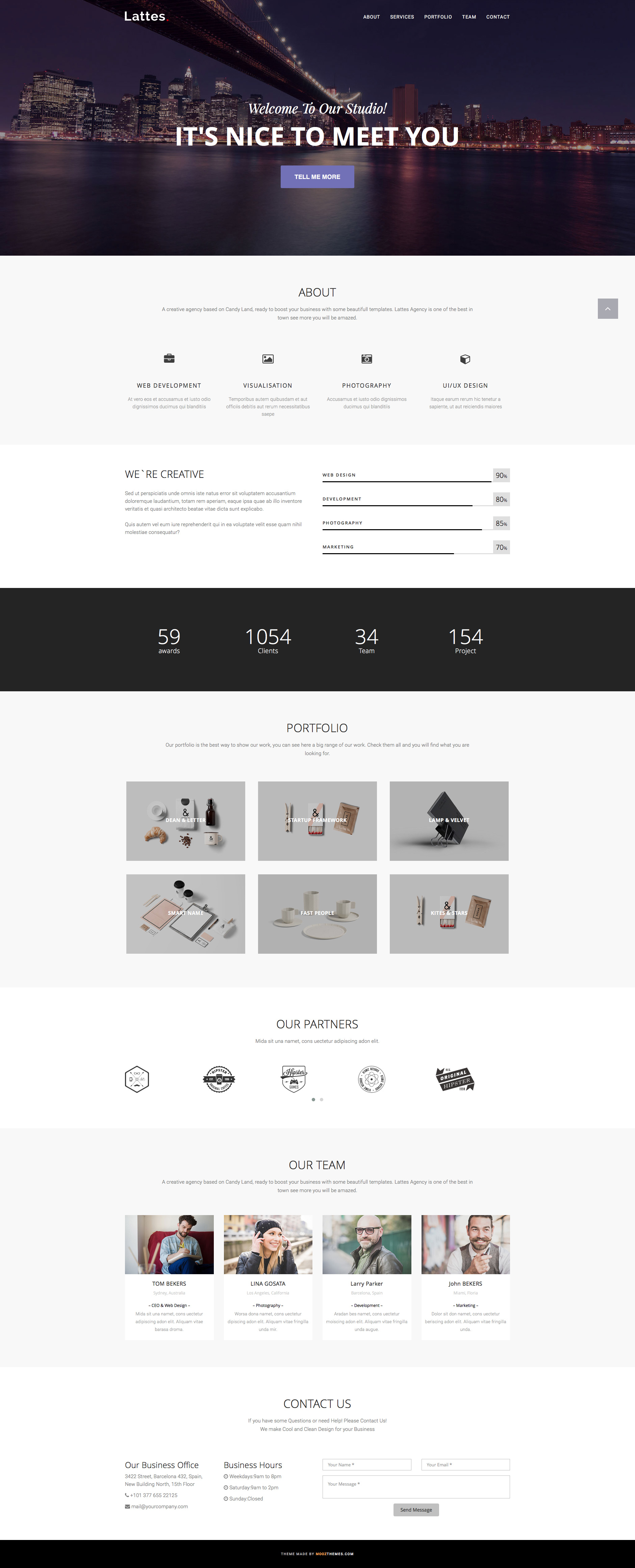 Lattes is a clean and elegant free responsive HTML5 Bootstrap multipurpose website template for businesses, creatives, and agencies. It features fully responsive design, responsive navigation, clean HTML markup, portfolio grid and FontAwesome Icons.