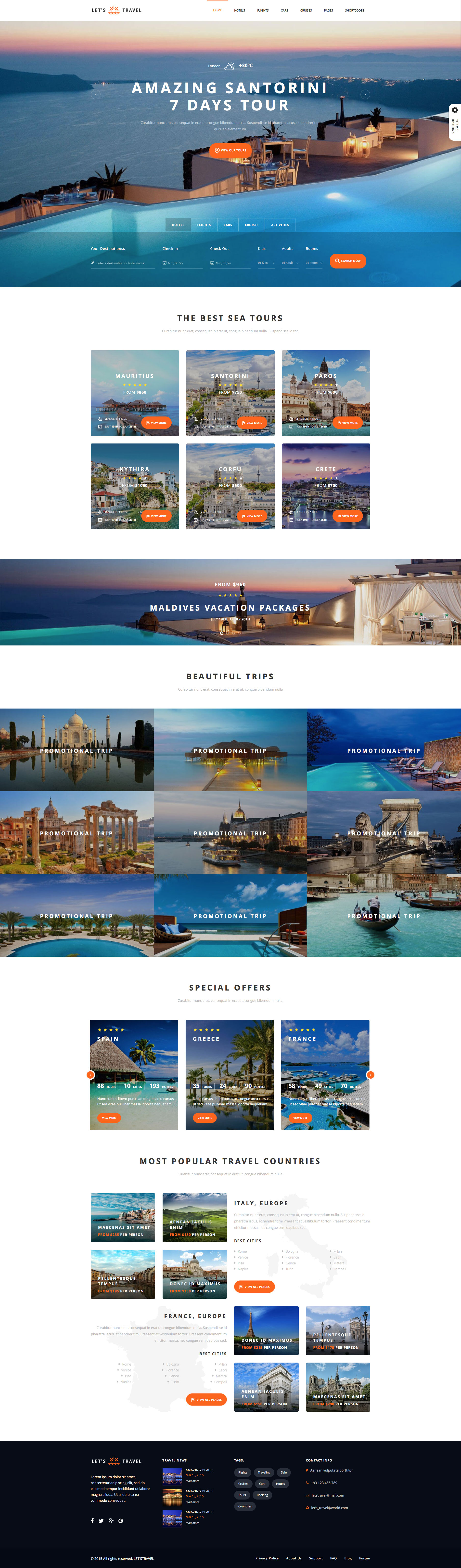 Let's travel is a fully responsive HTML5 travel booking website template, designed and optimized for travel agencies. This booking template comes with 17 Unique HomePages, more then 100 Pages, completely integrated booking system, availability checker, advanced filtering, front-end management, review system and many more. Let's travel template is built on the popular Bootstrap 3 framework.