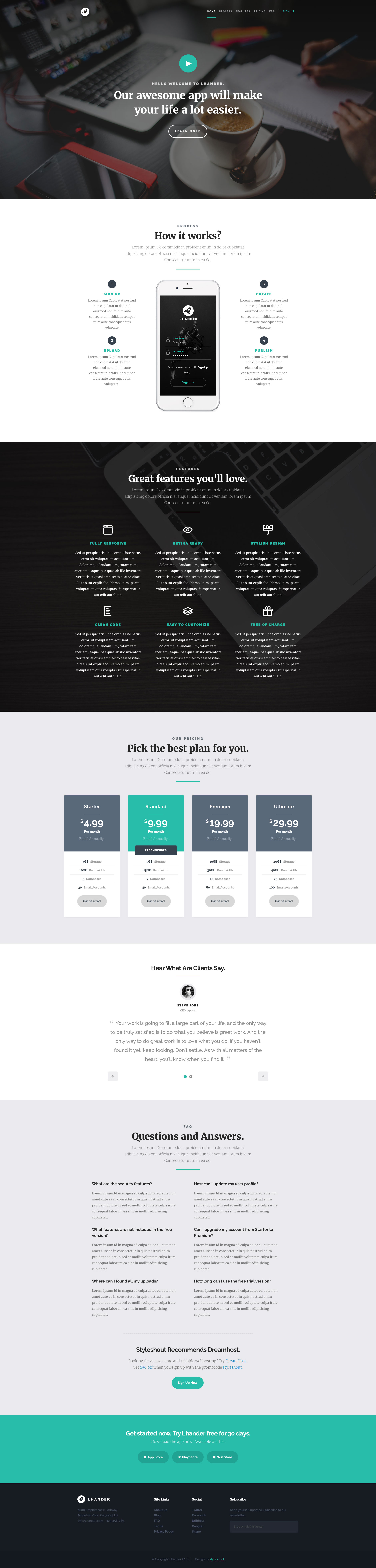 Lhander is a modern and minimal free responsive landing page site template. The perfect HTML5 template to showcase your app products and services.