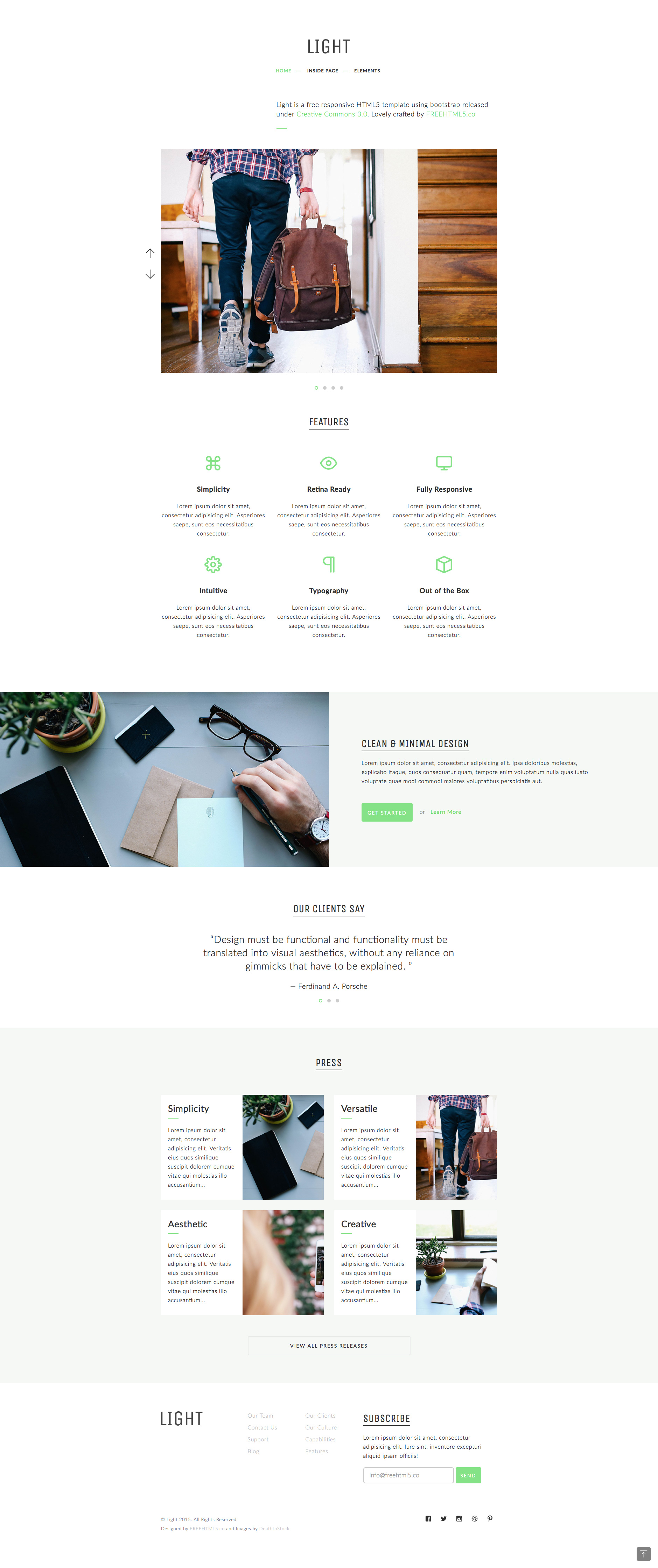 Light is a free responsive HTML5 Bootstrap multipurpose website template. It features fully responsive and mobile friendly design, google map, lightbox and carousel. Light template is fully responsive and built on the popular Bootstrap 3 framework.
