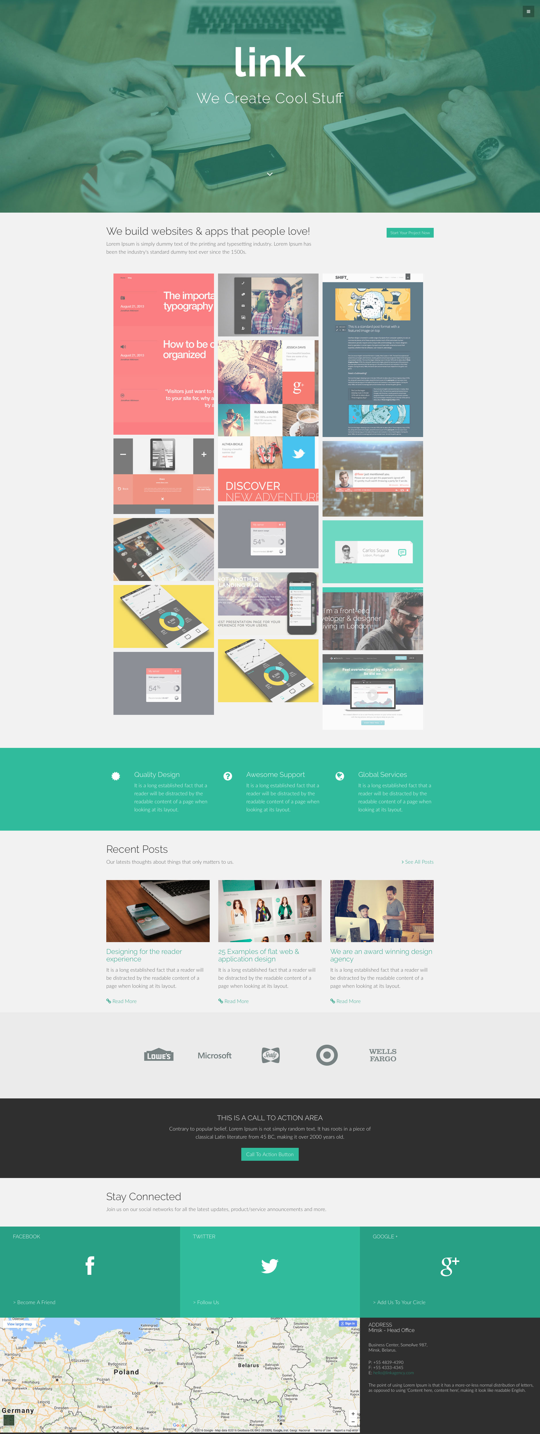 Link is a free responsive HTML5 template built on the popular Bootstrap 3 front-end framework. Link template features Font Awesome, CSS animations, masonry grid gallery, google maps and many more. It comes with 6 pages.