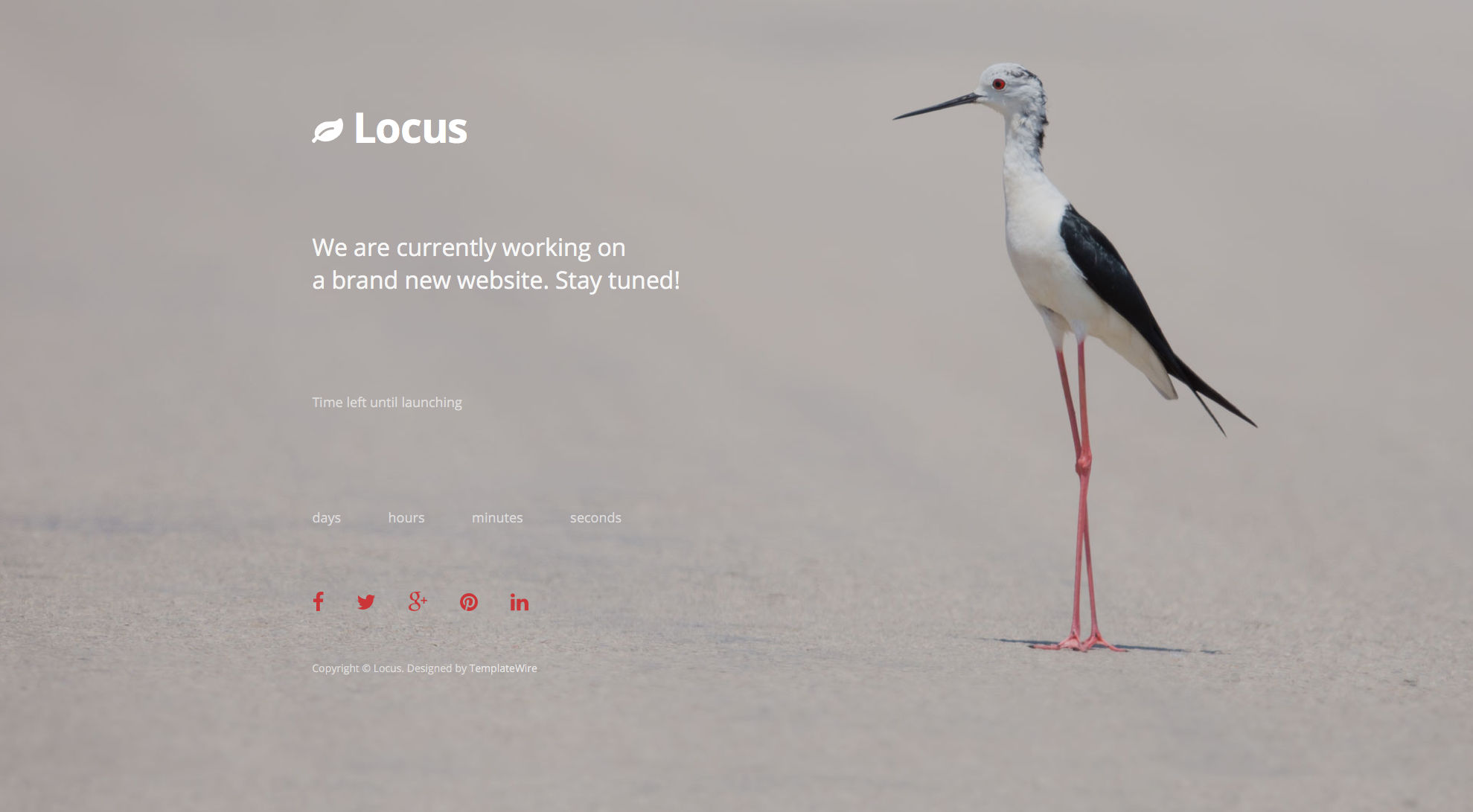 Locus is a free responsive coming soon HTML5 template built with Bootstrap. Locus features full screen background and a countdown timer. Locus free HTML countdown template is fully responsive, retina ready and comes with the popular Bootstrap CSS Grid System.